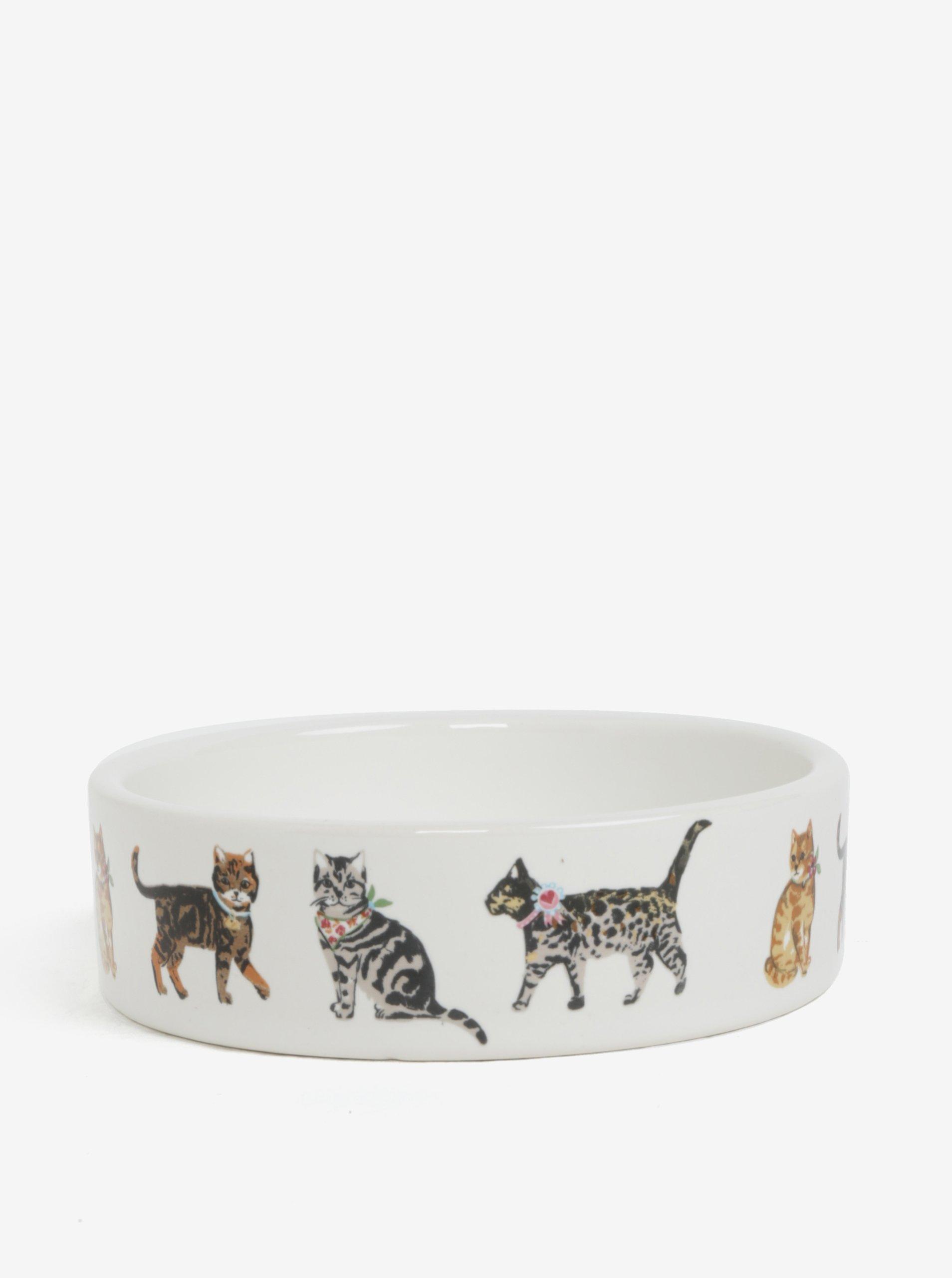 Krémová vzorovaná miska pre mačky Cooksmart