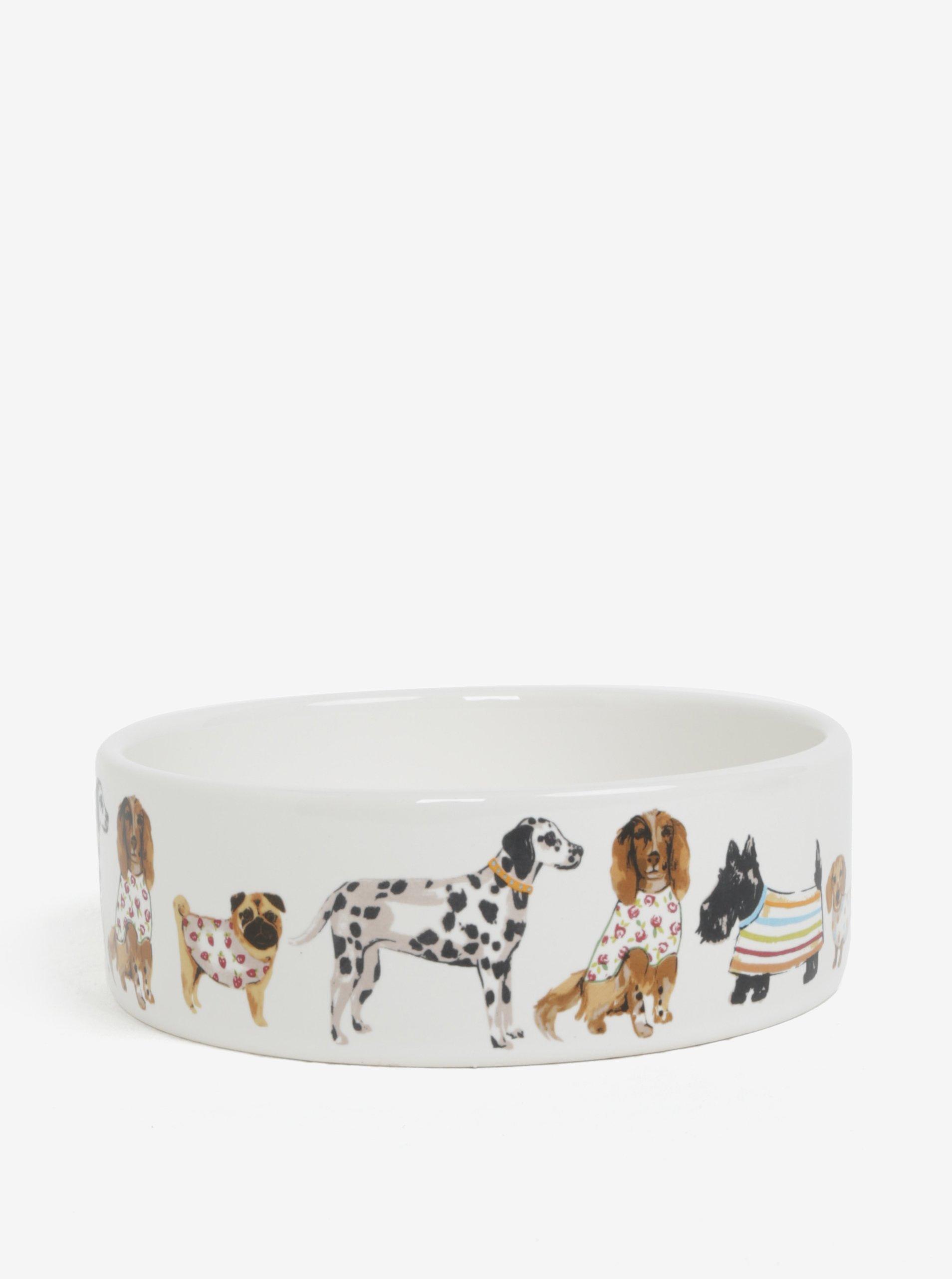 Krémová vzorovaná miska pre psy Cooksmart