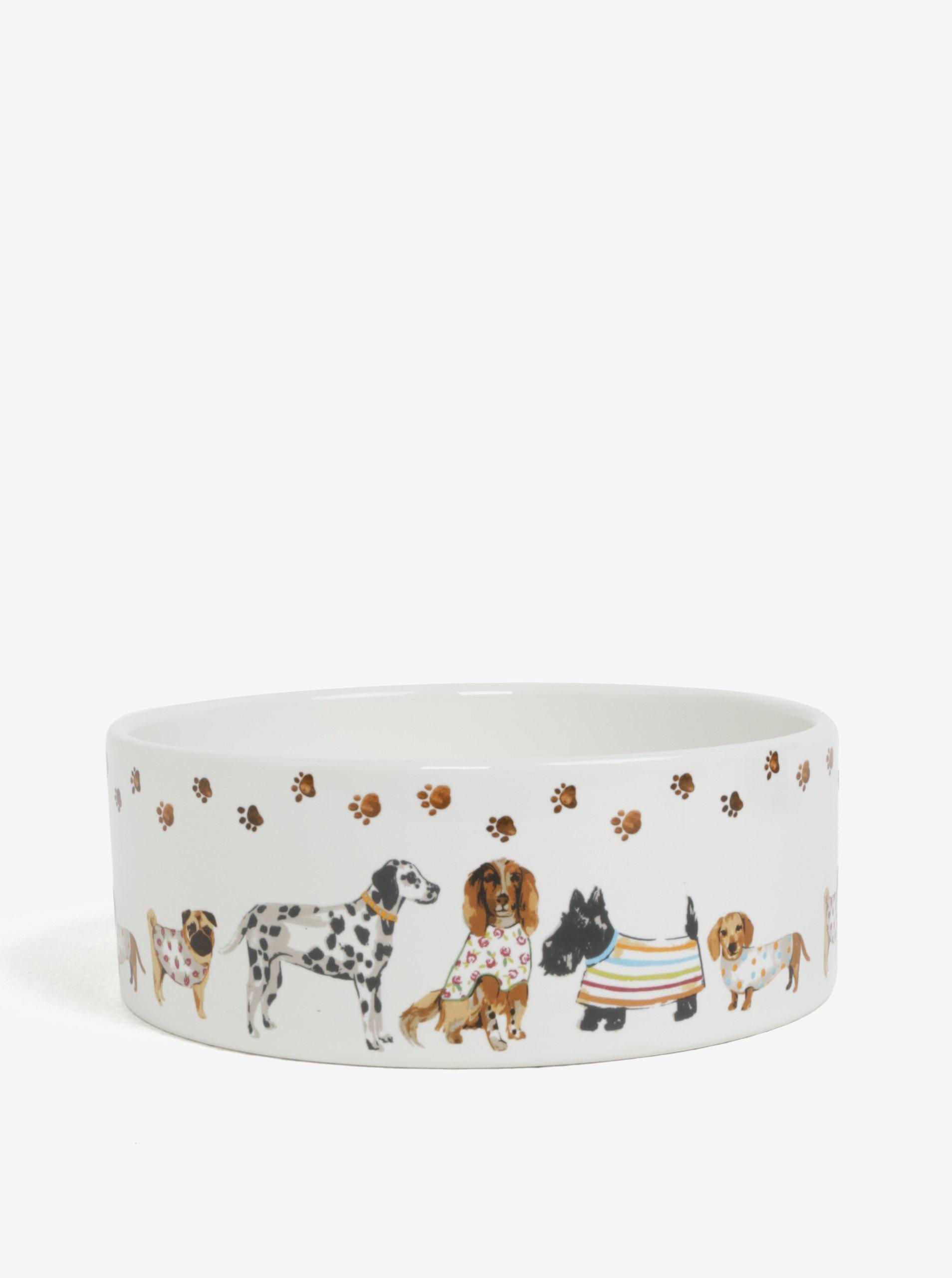 Krémová veľká vzorovaná miska pre psy Cooksmart