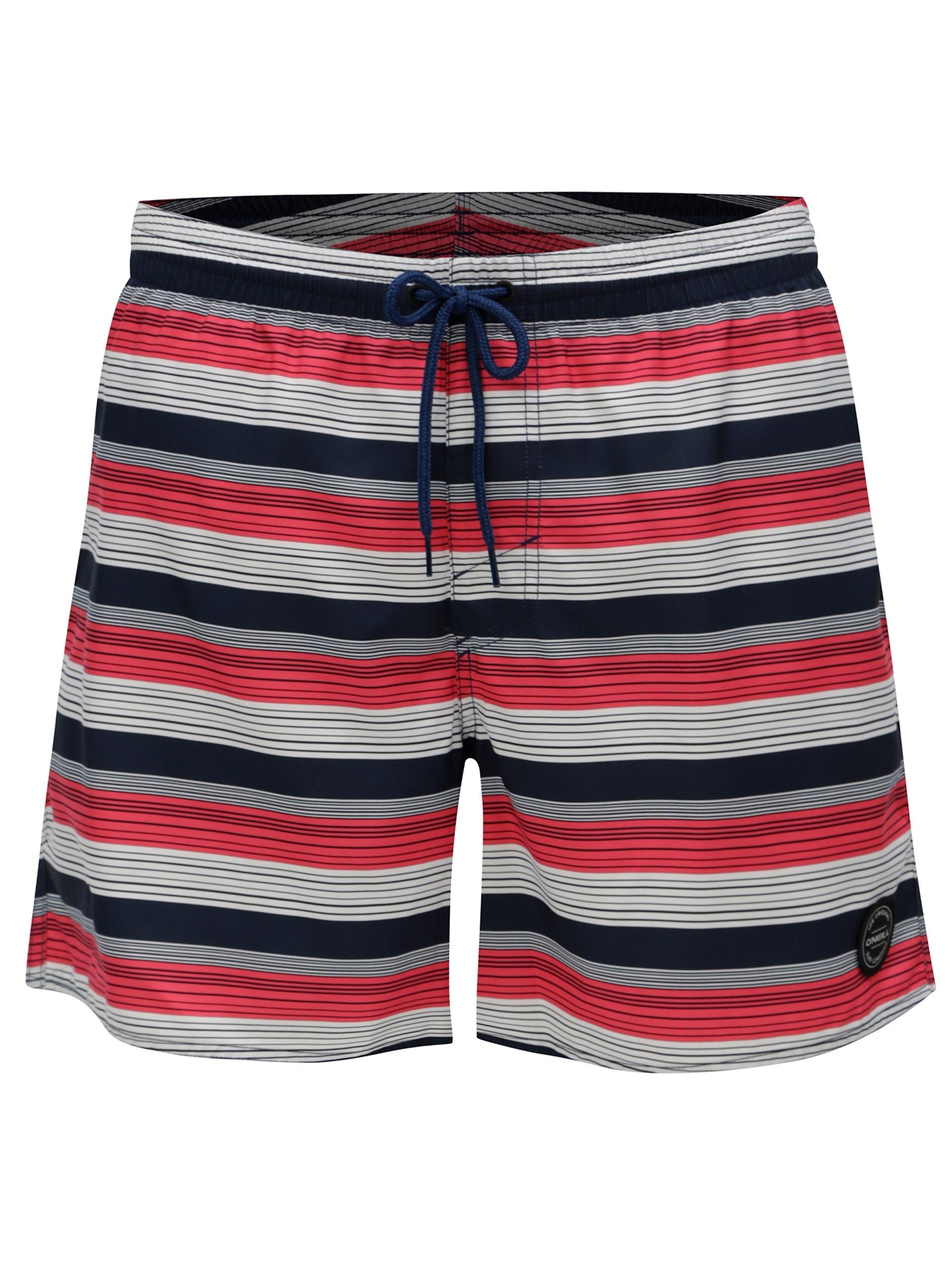 Modro-červené pánske pruhované plavky O'Neill Bondi