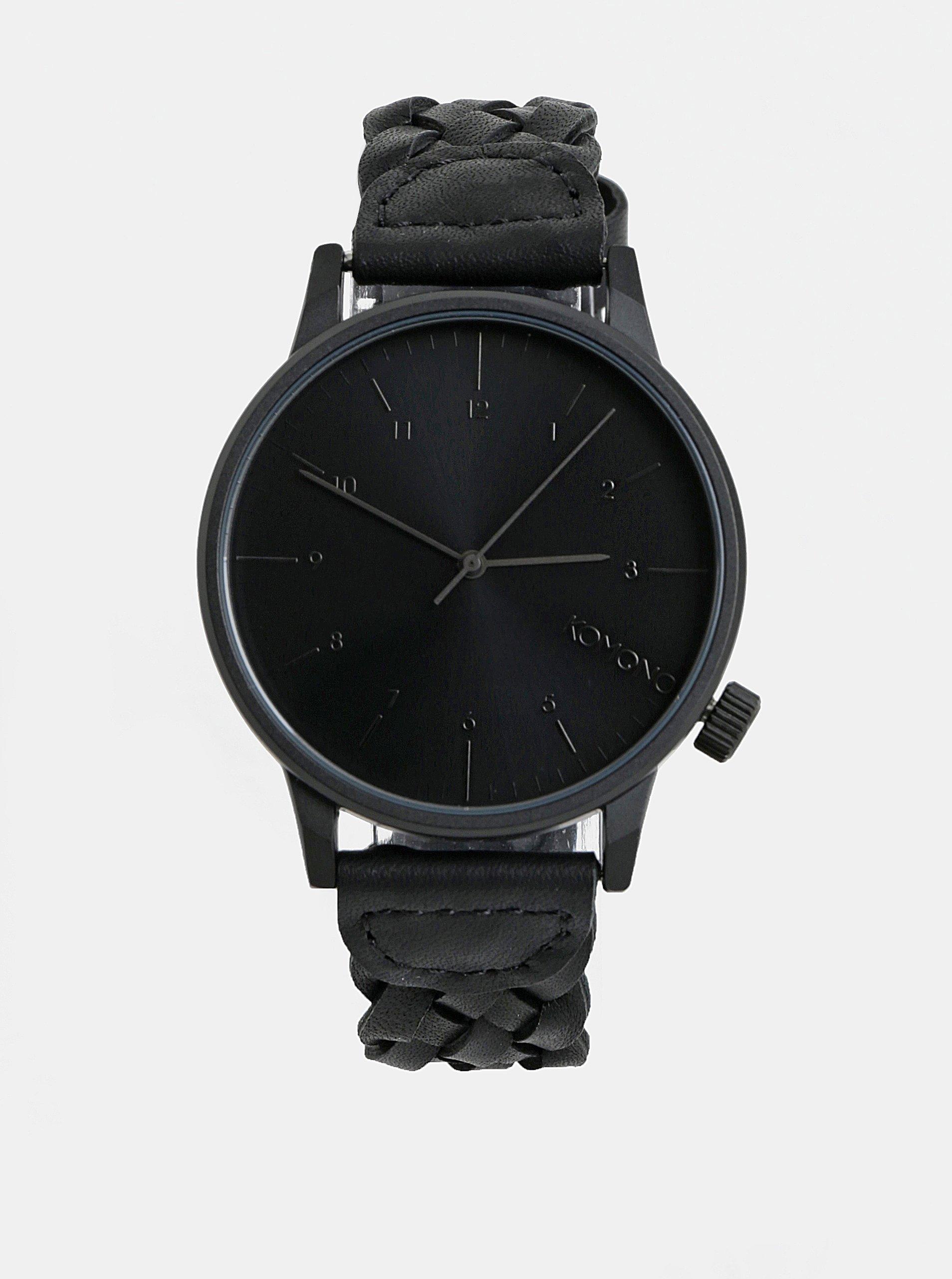 ff2fbd8d37 Čierne pánske hodinky Komono s koženým remienkom Harlow