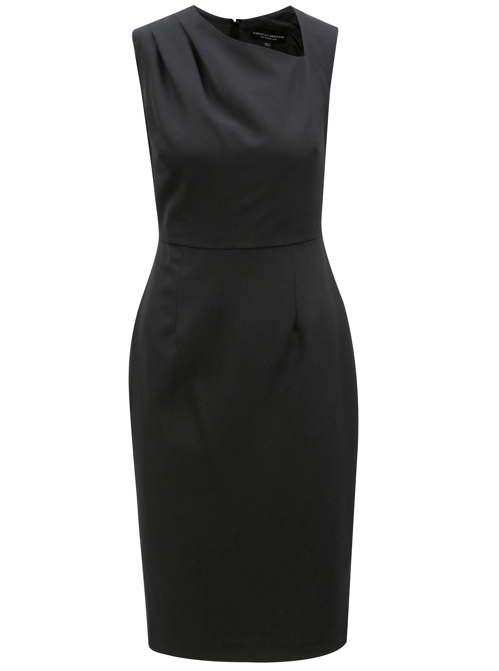 Černé pouzdrové šaty s asymetrickým výstřihem Dorothy Perkins 9b1c6ab952