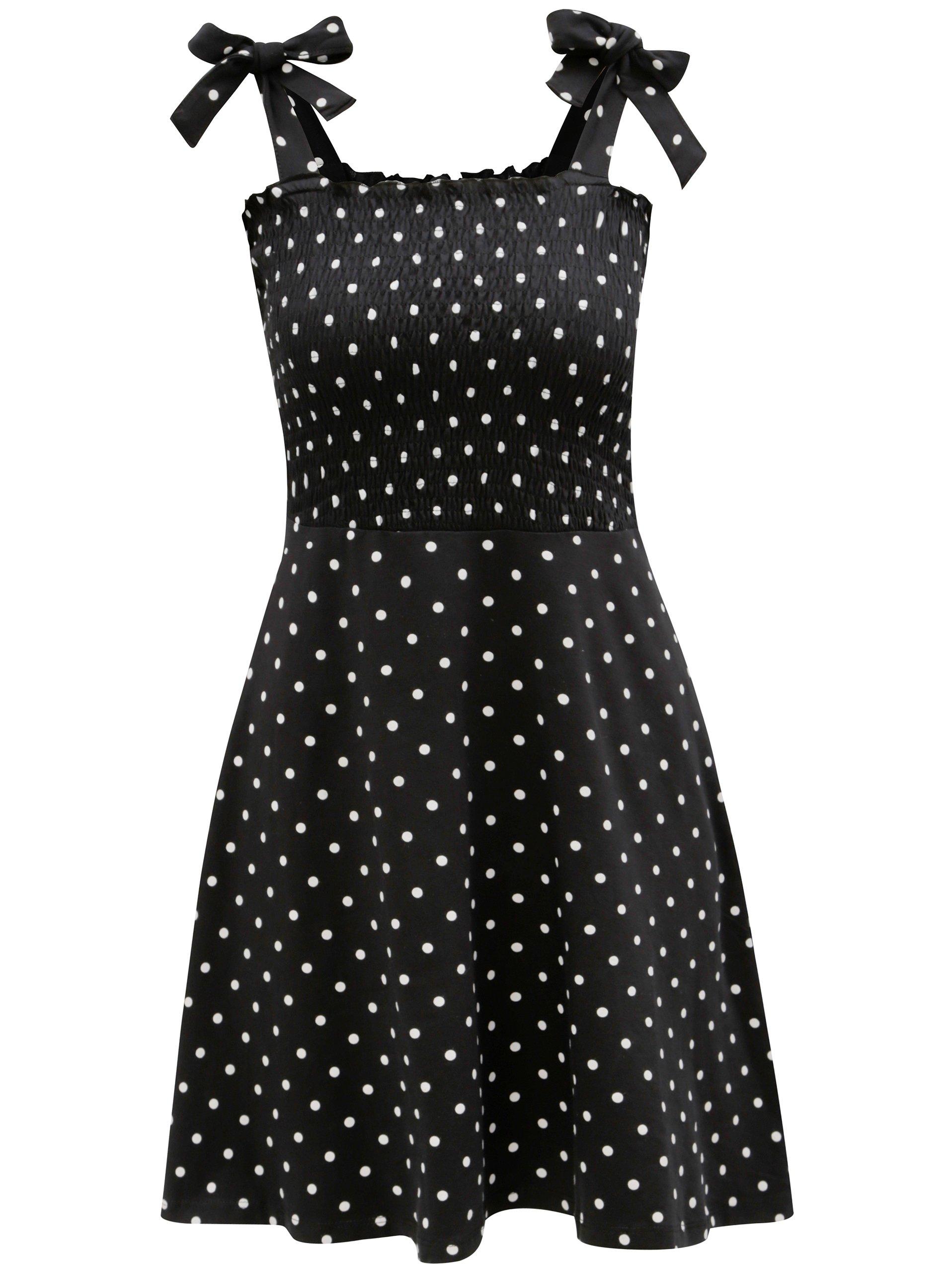 Bílo-černé puntíkované šaty na ramínka Dorothy Perkins