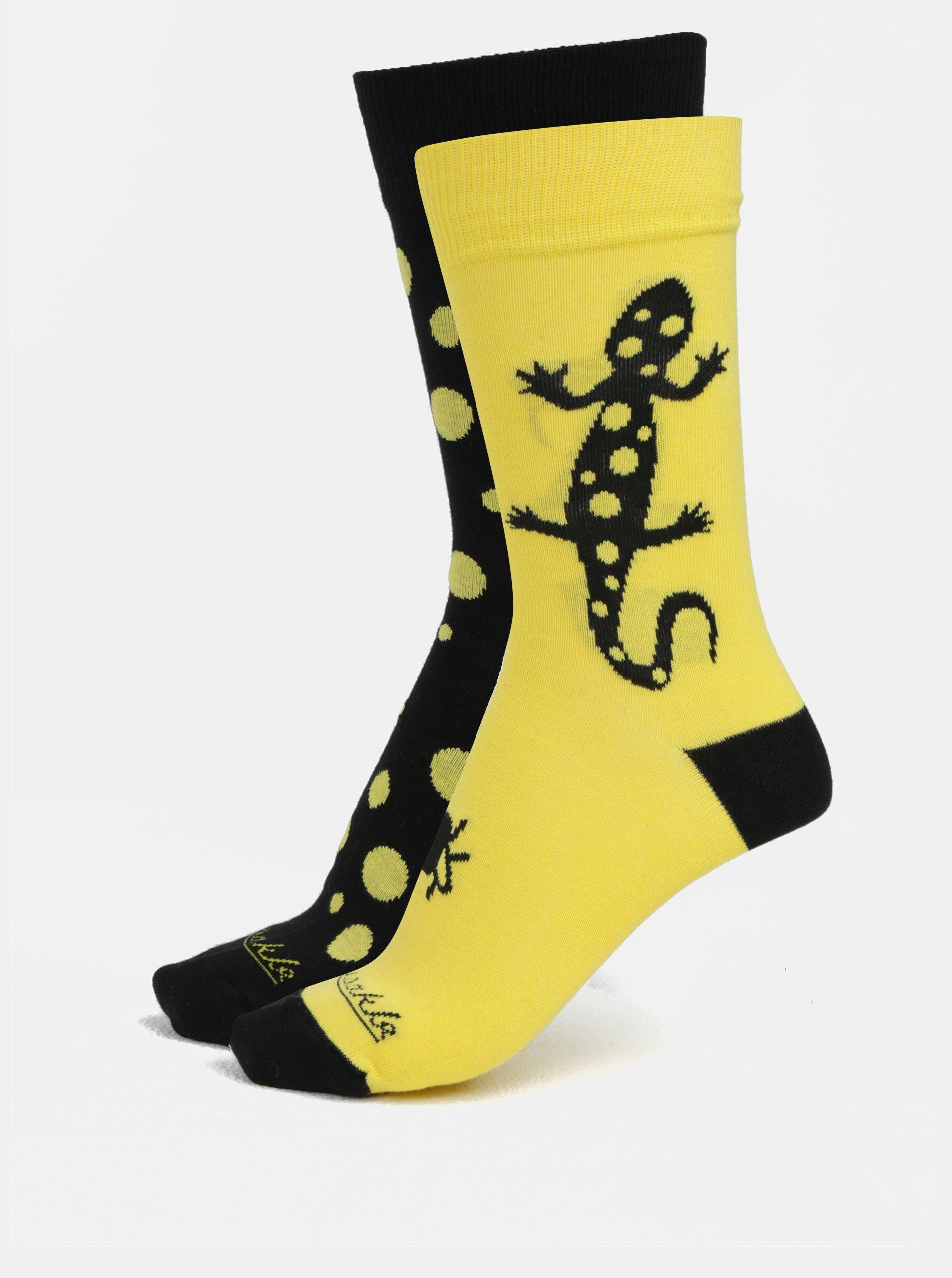 Černo-žluté unisex ponožky s motivem ještěrky Fusakle Salamandra