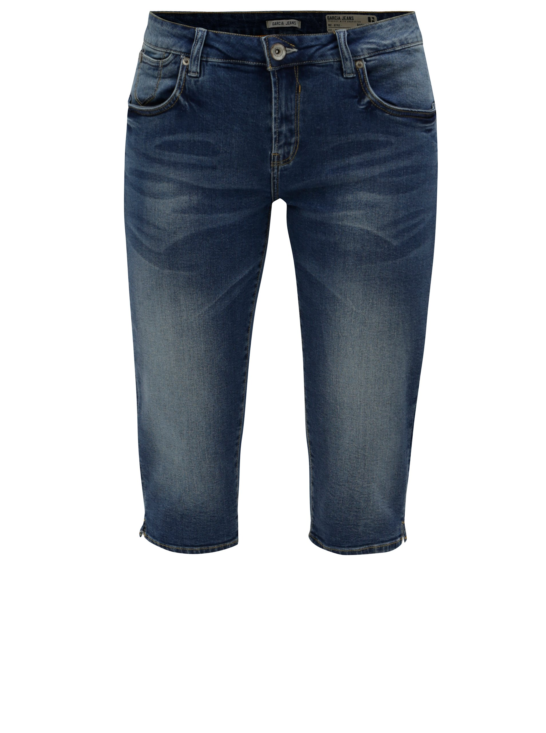 Modré dámske slim fit kraťasy s vyšúchaným efektom a nízkym pásom Garcia Jeans Rachelle