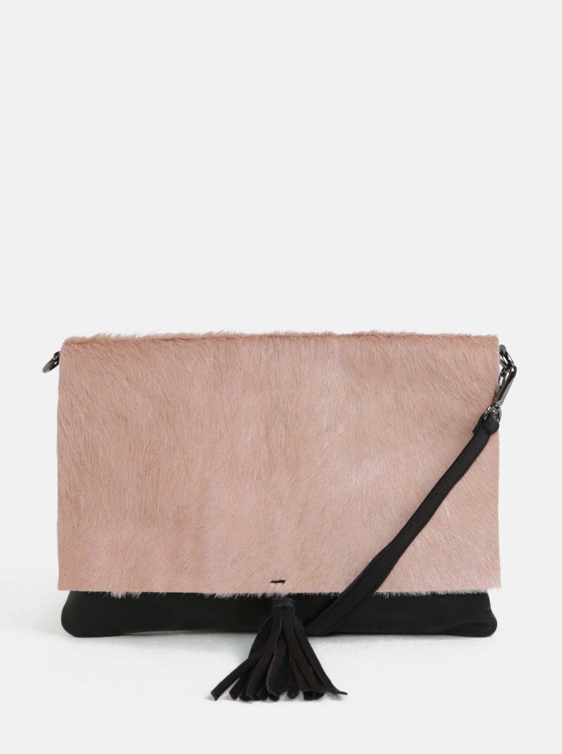 7afa6fd1fa Černo-růžová kožená crossbody kabelka s kožešinovou klopou ZOOT