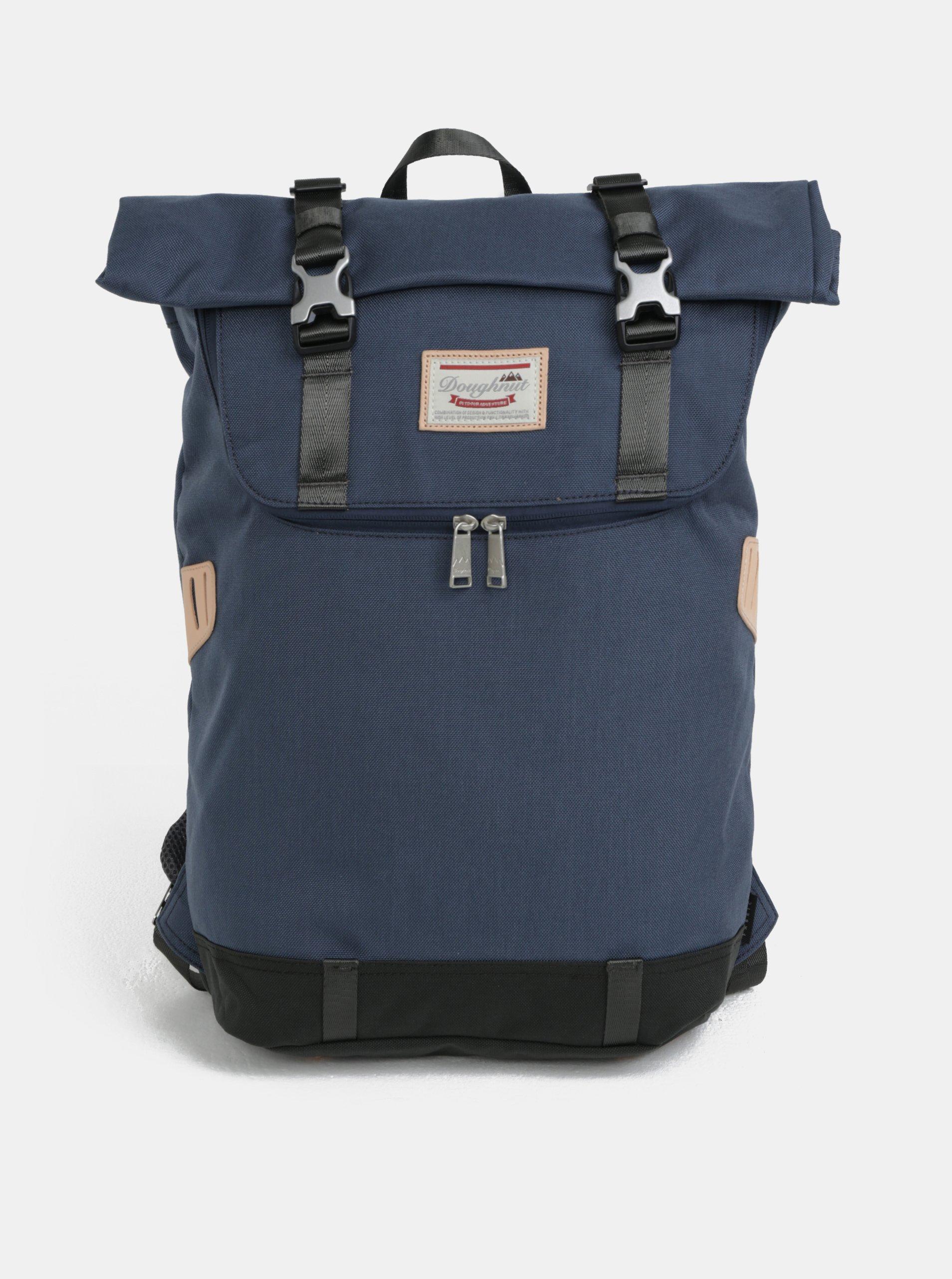 bf389d94cf Tmavě modrý batoh s koženými detaily Doughnut Christopher
