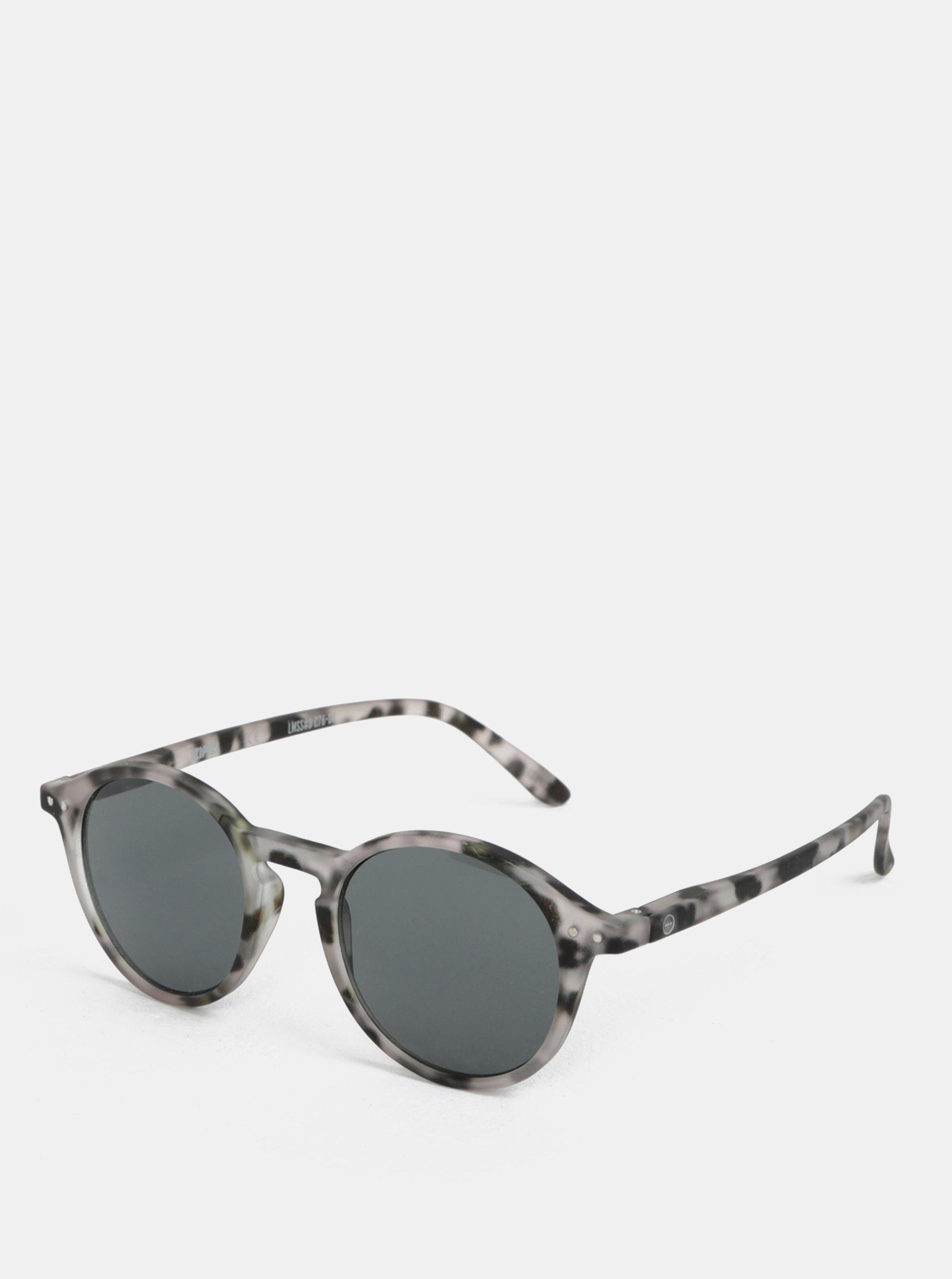 Čierno-sivé vzorované unisex slnečné okuliare IZIPIZI #D