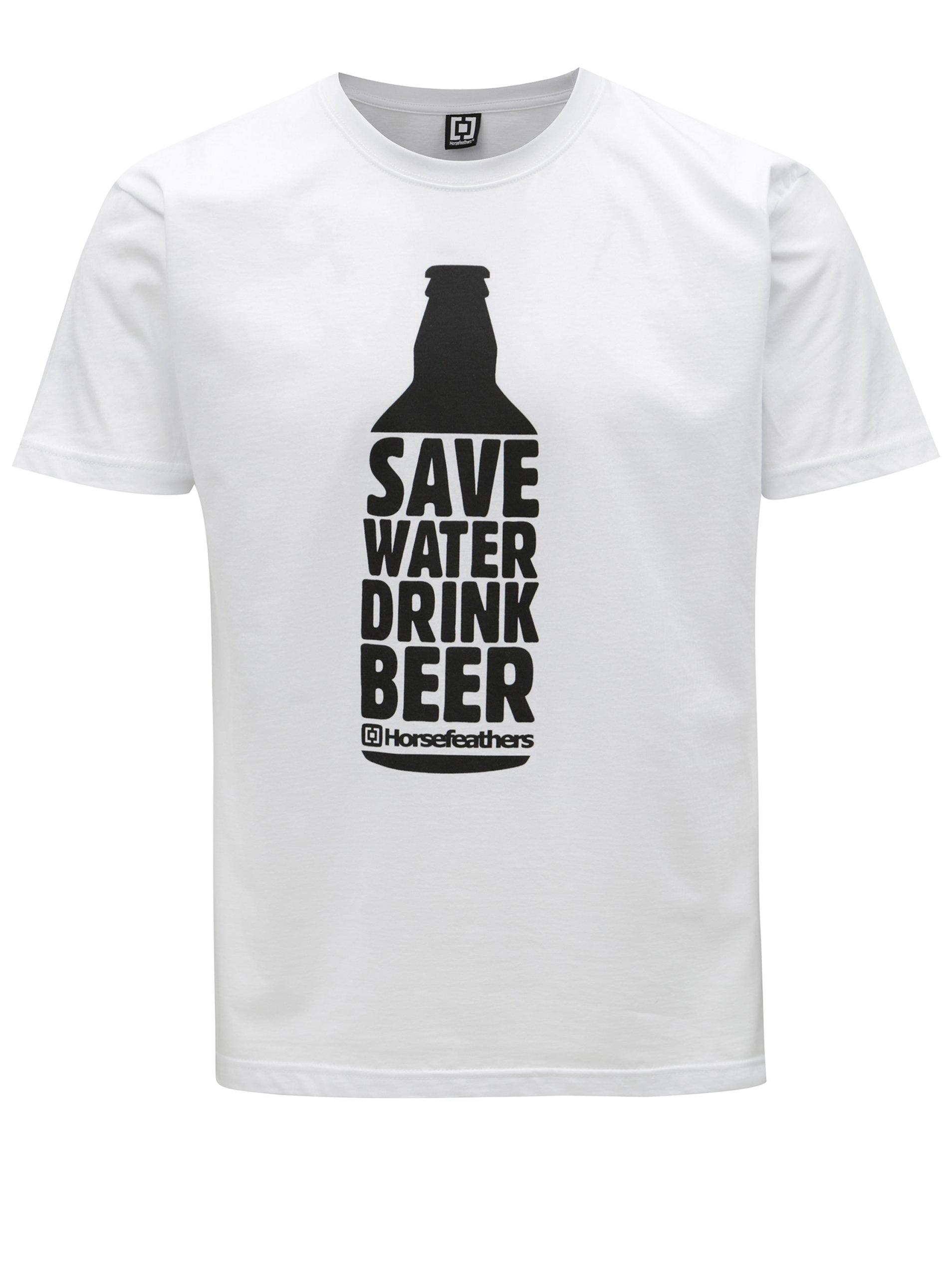 Bílé pánské tričko s potiskem Horsefeathers Save