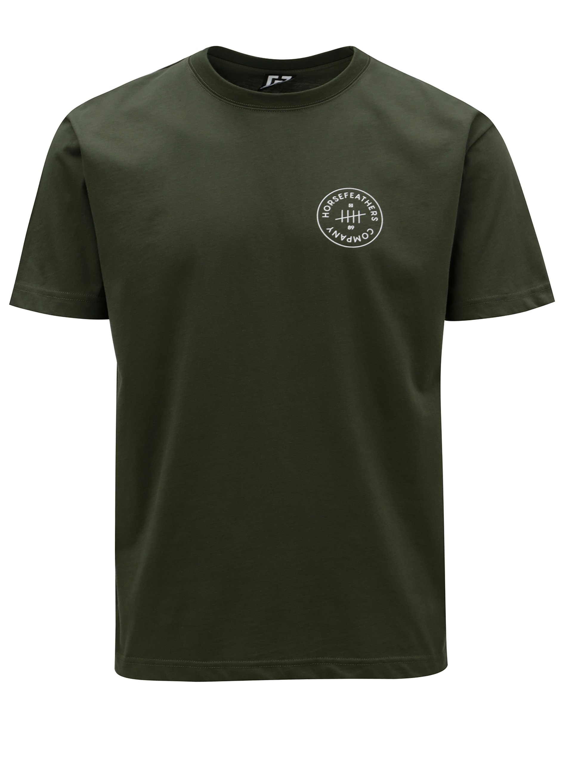Tmavozelené pánske tričko s potlačou Horsefeathers Five
