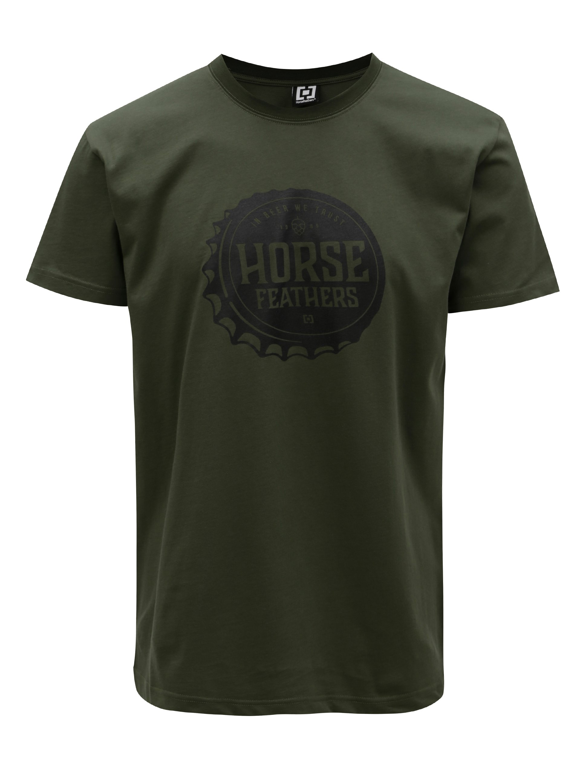 Tmavozelené pánske tričko s potlačou Horsefeathers Helmet
