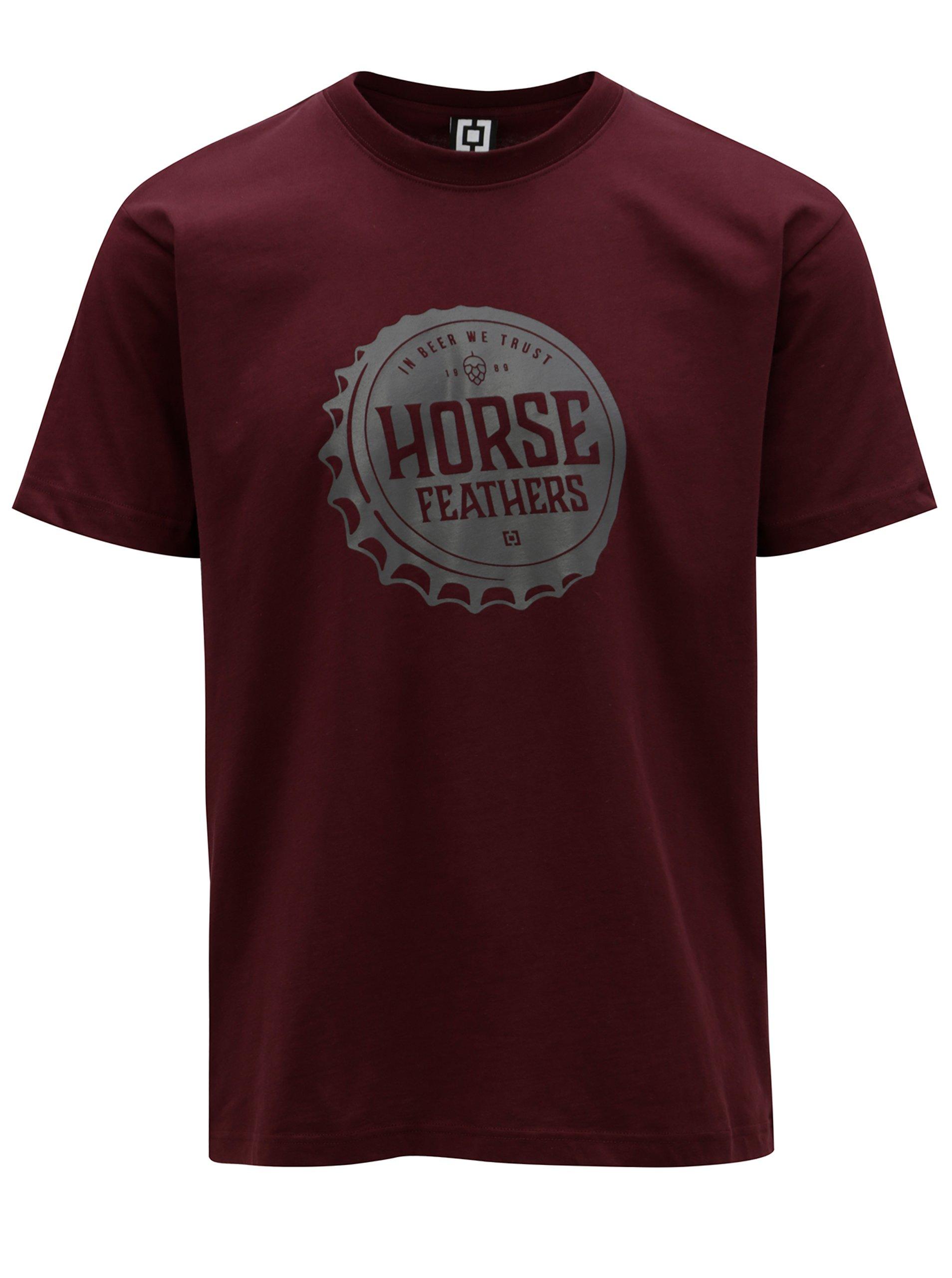 Vínové pánske tričko s potlačou Horsefeathers Helmet