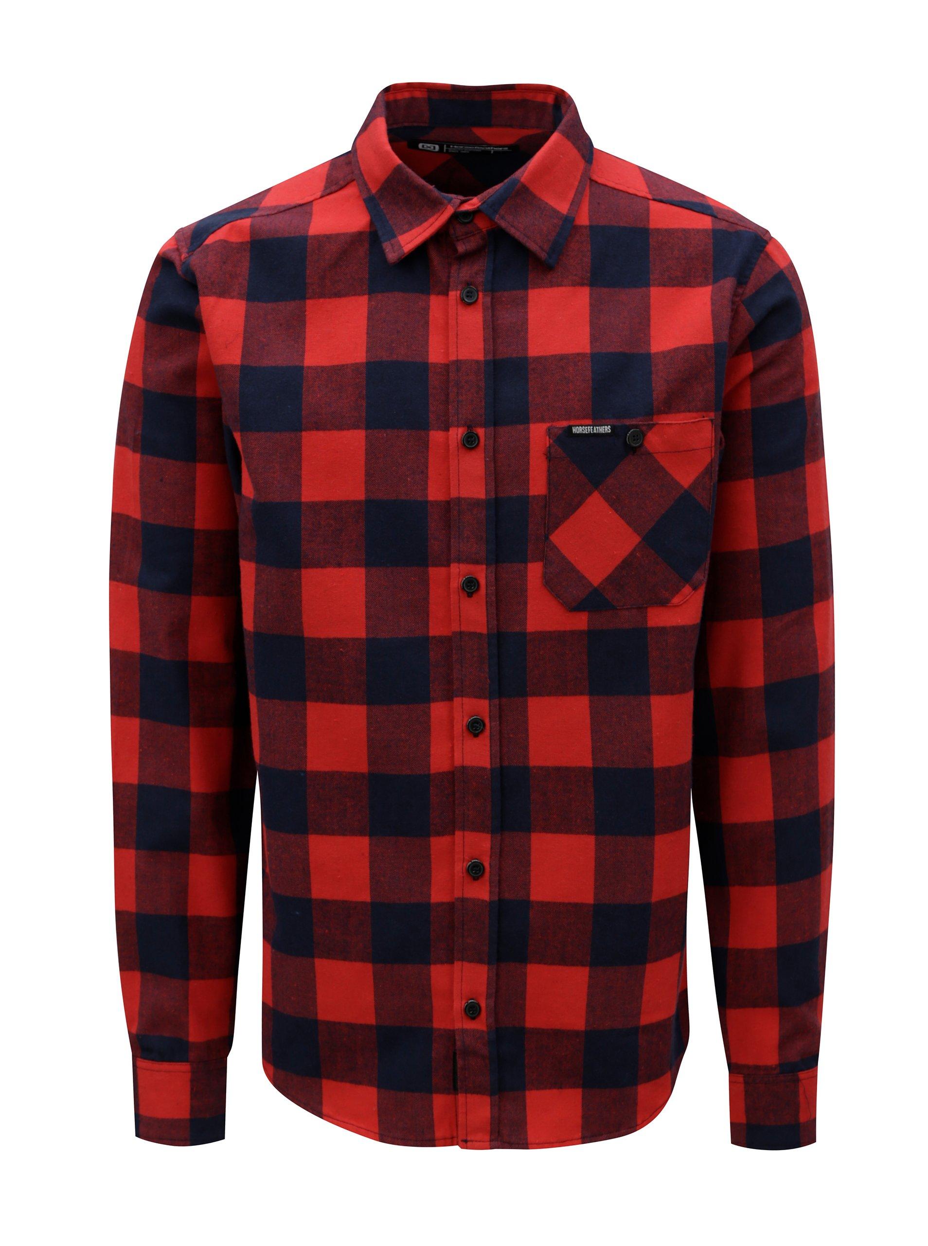 Červená pánská kostkovaná košile Horsefeathers Rashid