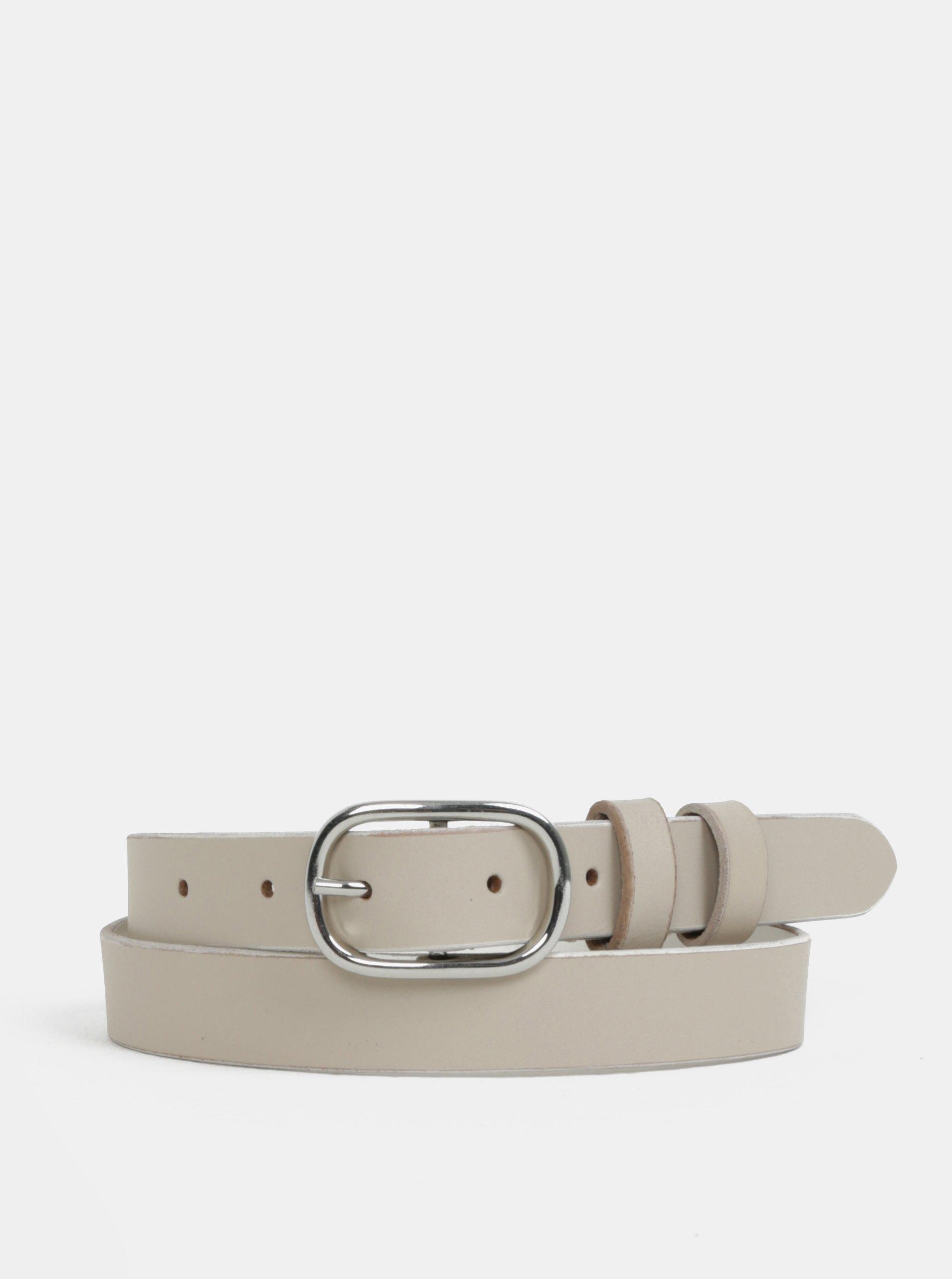 cb36594ac63 Béžový kožený pásek s přezkou ve stříbrné barvě Pieces Darci