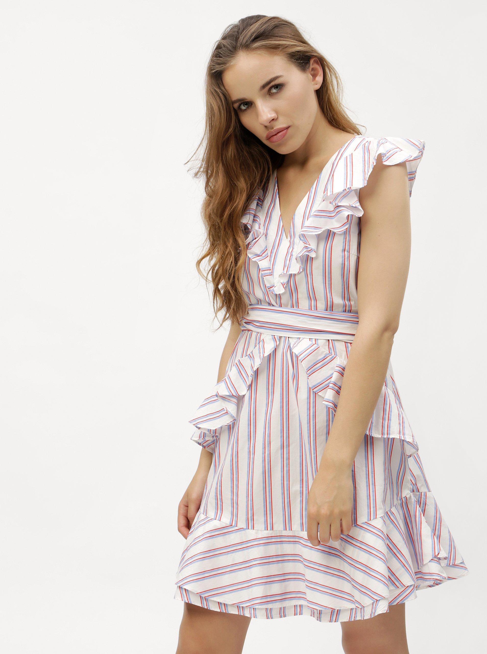 Bílé pruhované šaty s volány VERO MODA Gry c7c2c506cd