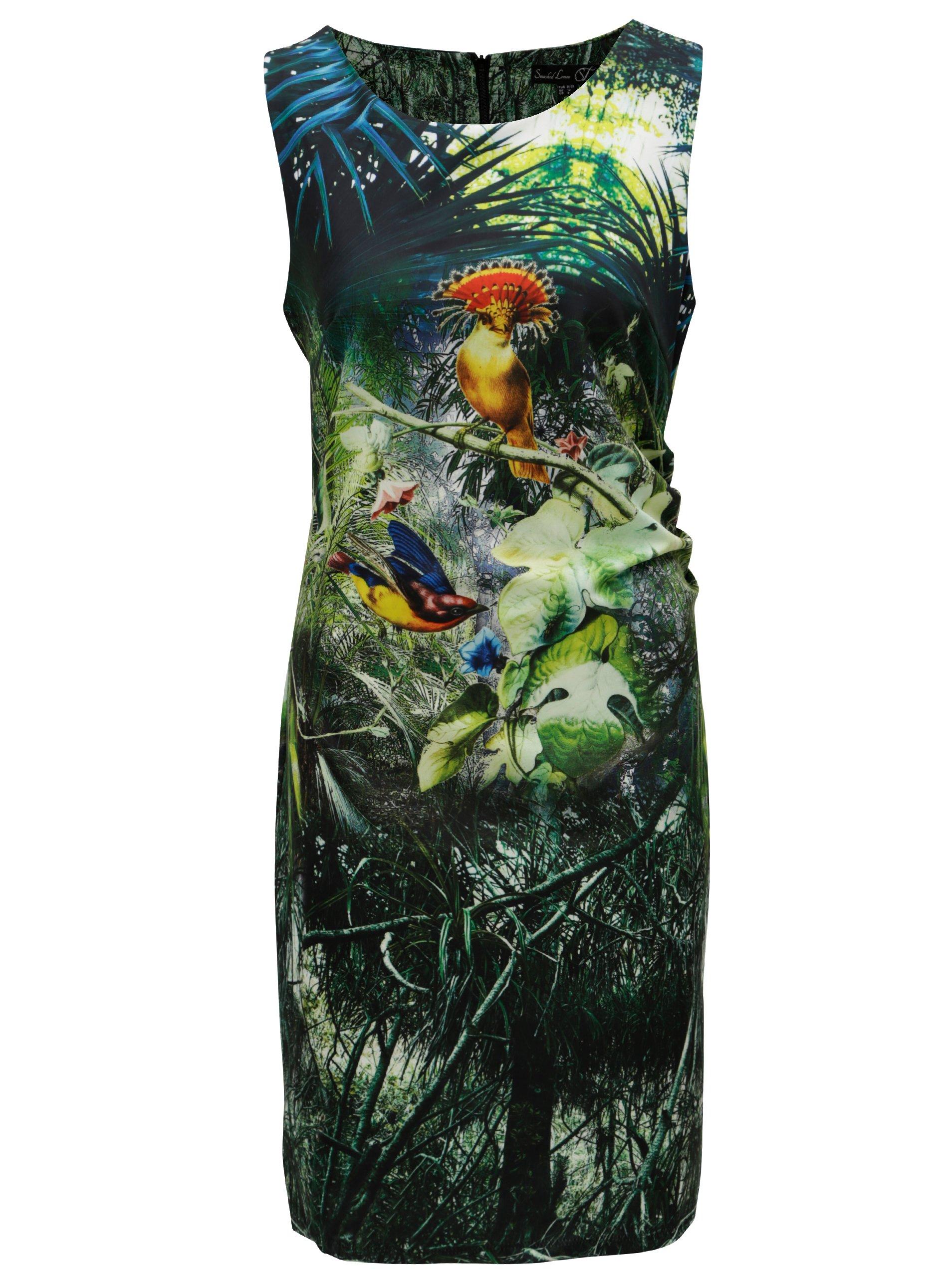 Zelené šaty s motivem tropických rostlin a zvířat Smashed Lemon