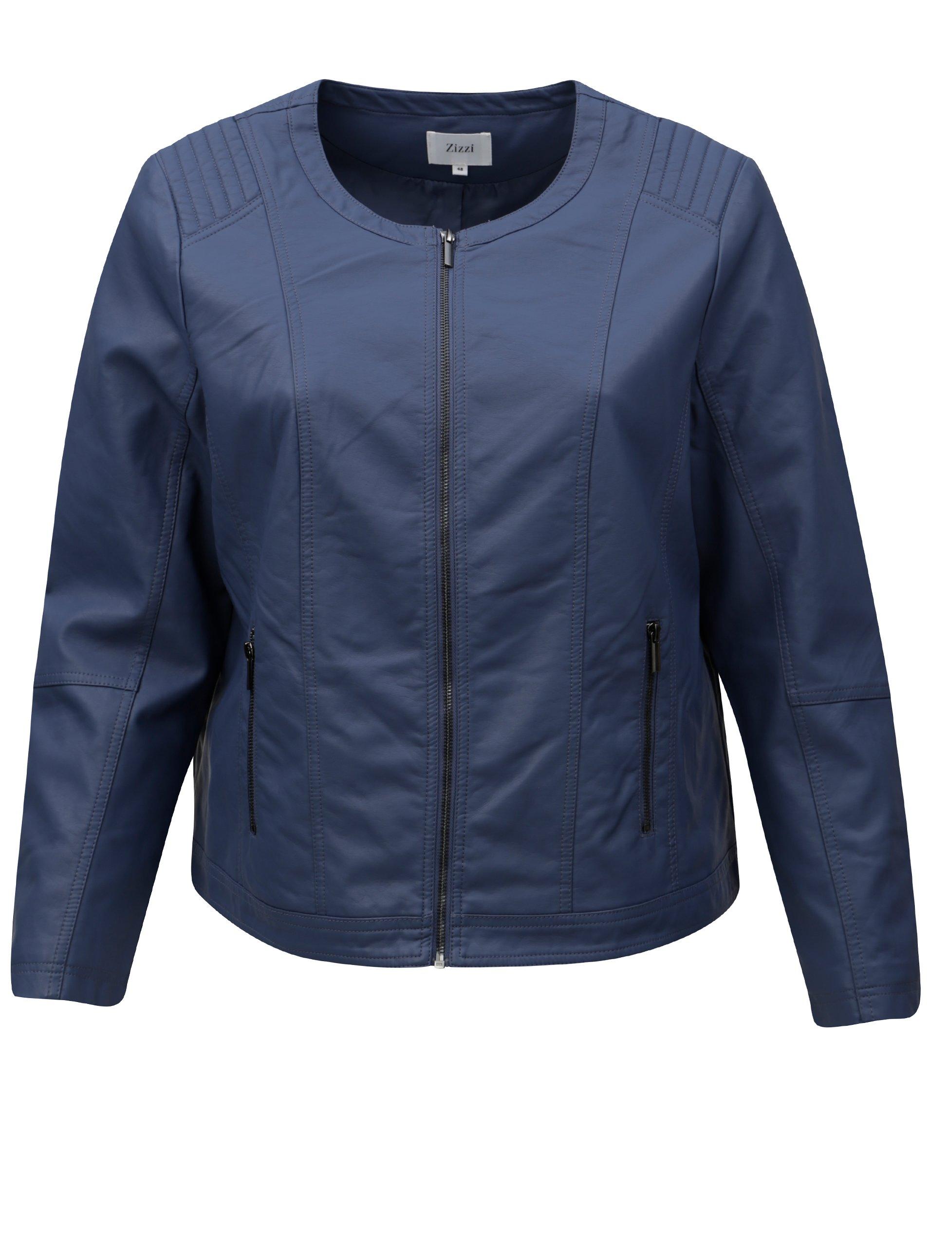 Modrá dámska koženková bunda Zizzi 962783f85b7