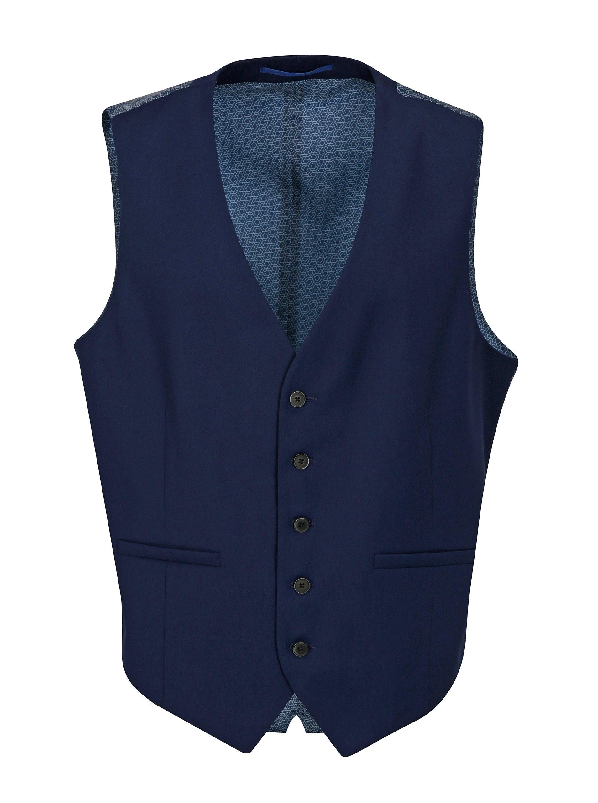 Tmavě modrá obleková skinny vesta Burton Menswear London