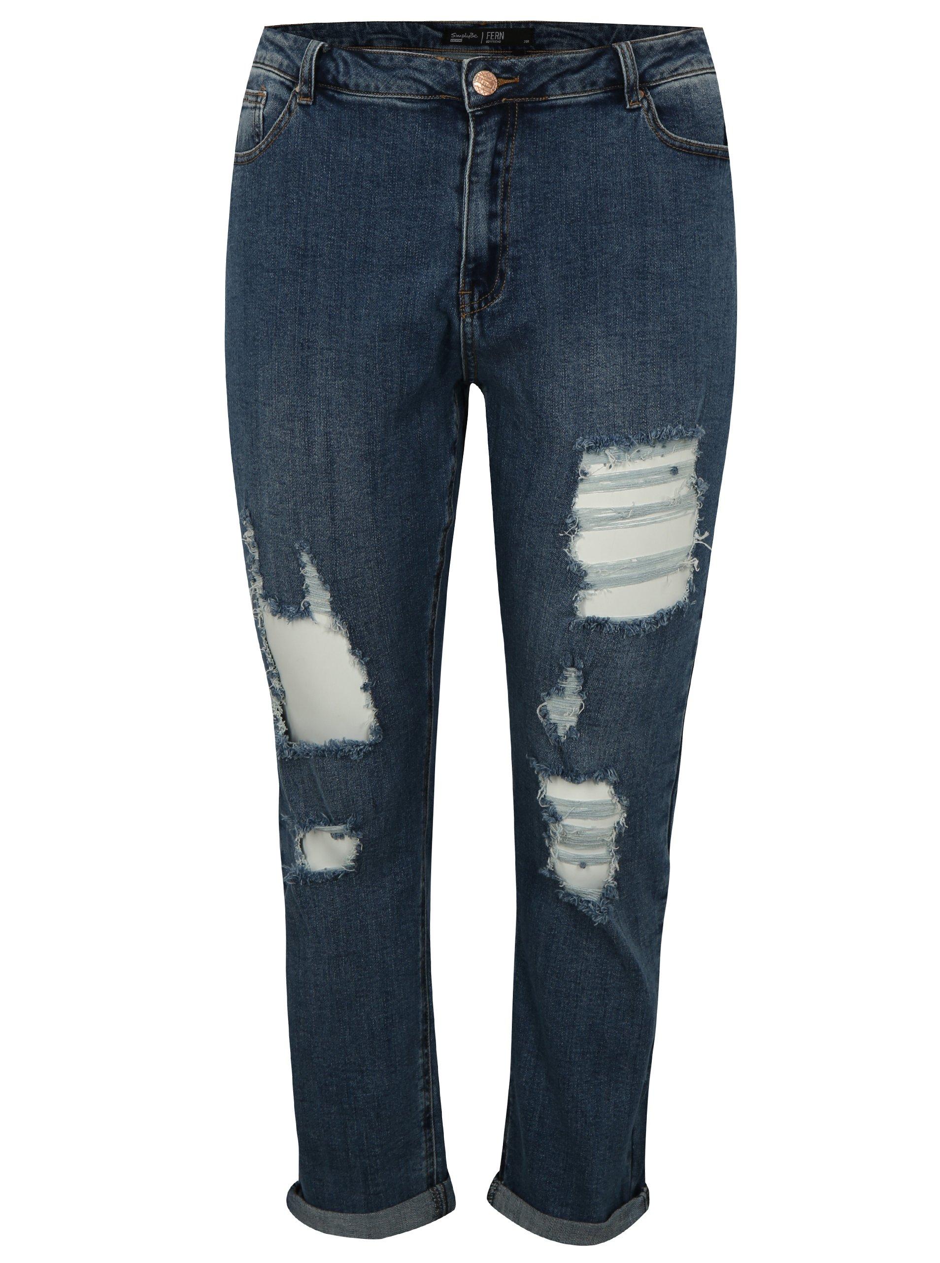 Modré boyfriend zkrácené džíny s potrhaným efektem simply be.