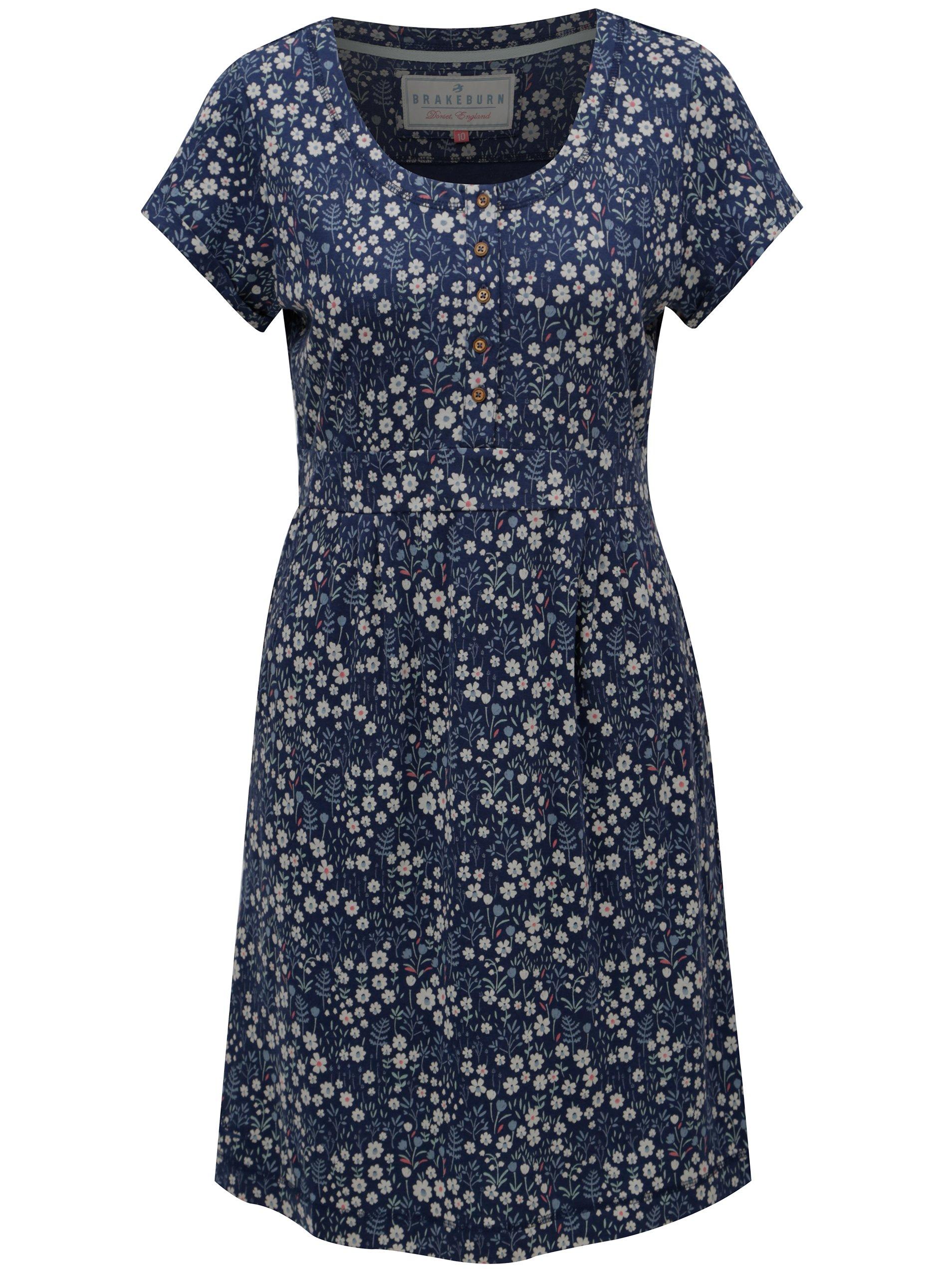 Tmavě modré květované šaty s krátkým rukávem Brakeburn    topik.cz 5df9ca644ae