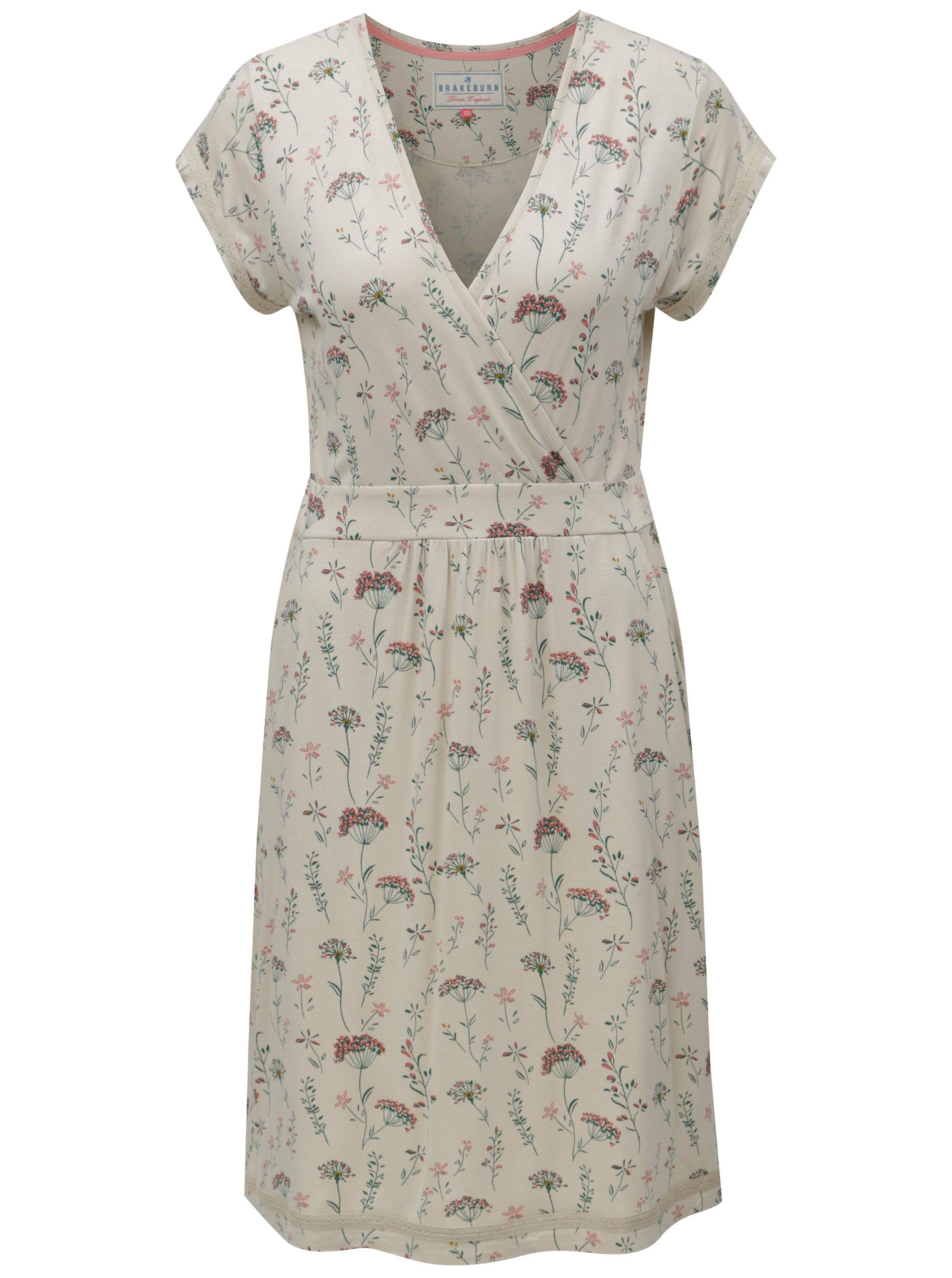 eebb406aa92d Béžové kvetované šaty s prekladaným výstrihom Brakeburn