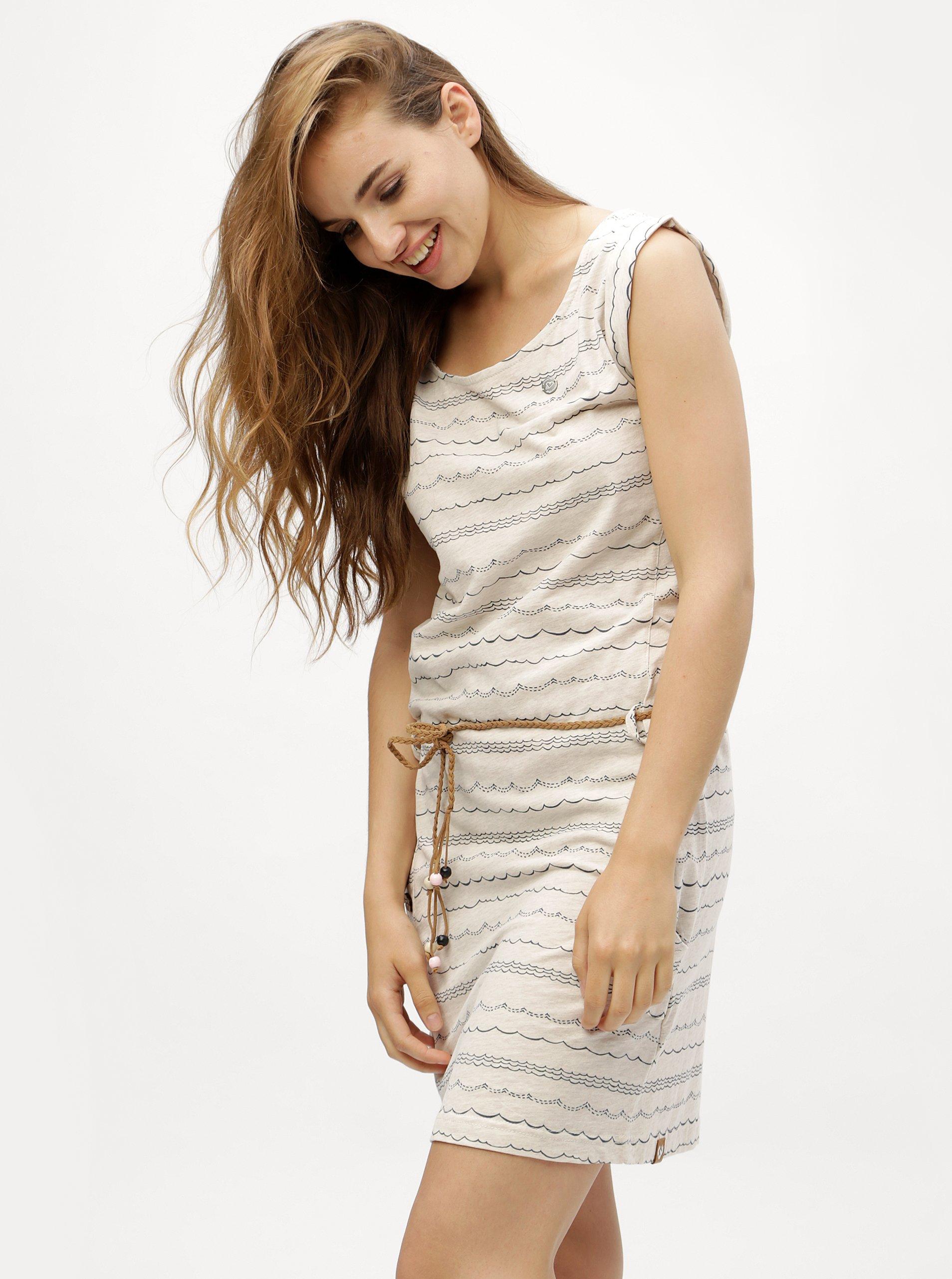 Krémové pruhované šaty Ragwear Tag Waves