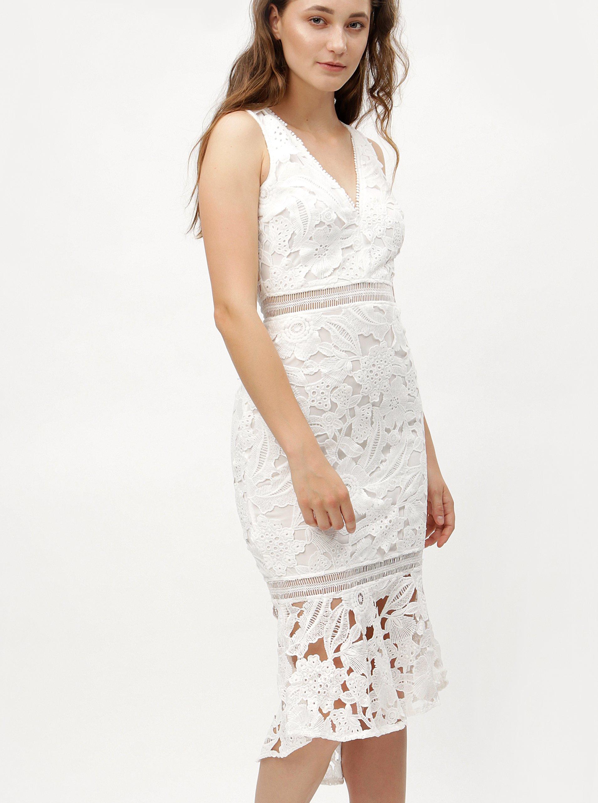 9ce96bf0fc7 Bílé pouzdrové krajkové šaty s volánem MISSGUIDED