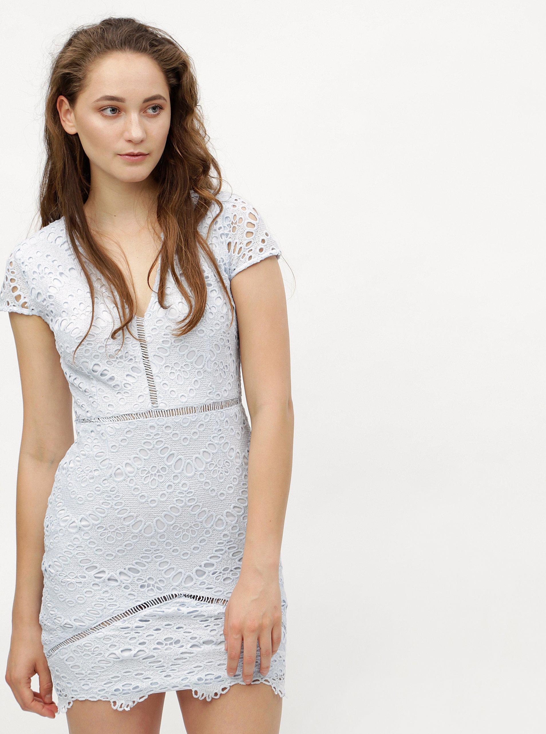 2d46e03833b Světle modré krajkové pouzdrové šaty MISSGUIDED