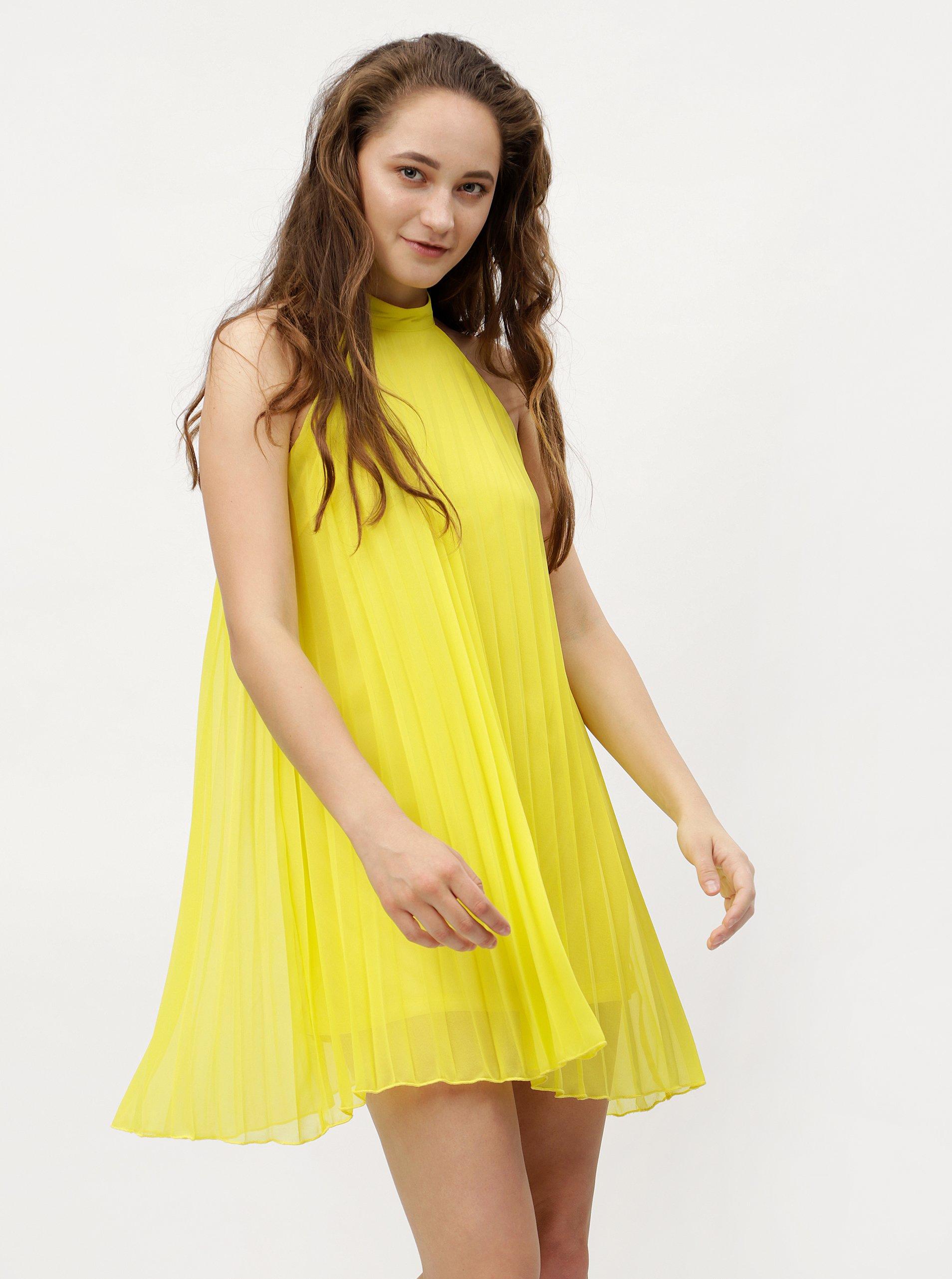 Žluté plisované šaty bez ramínek MISSGUIDED 194a5628fbb