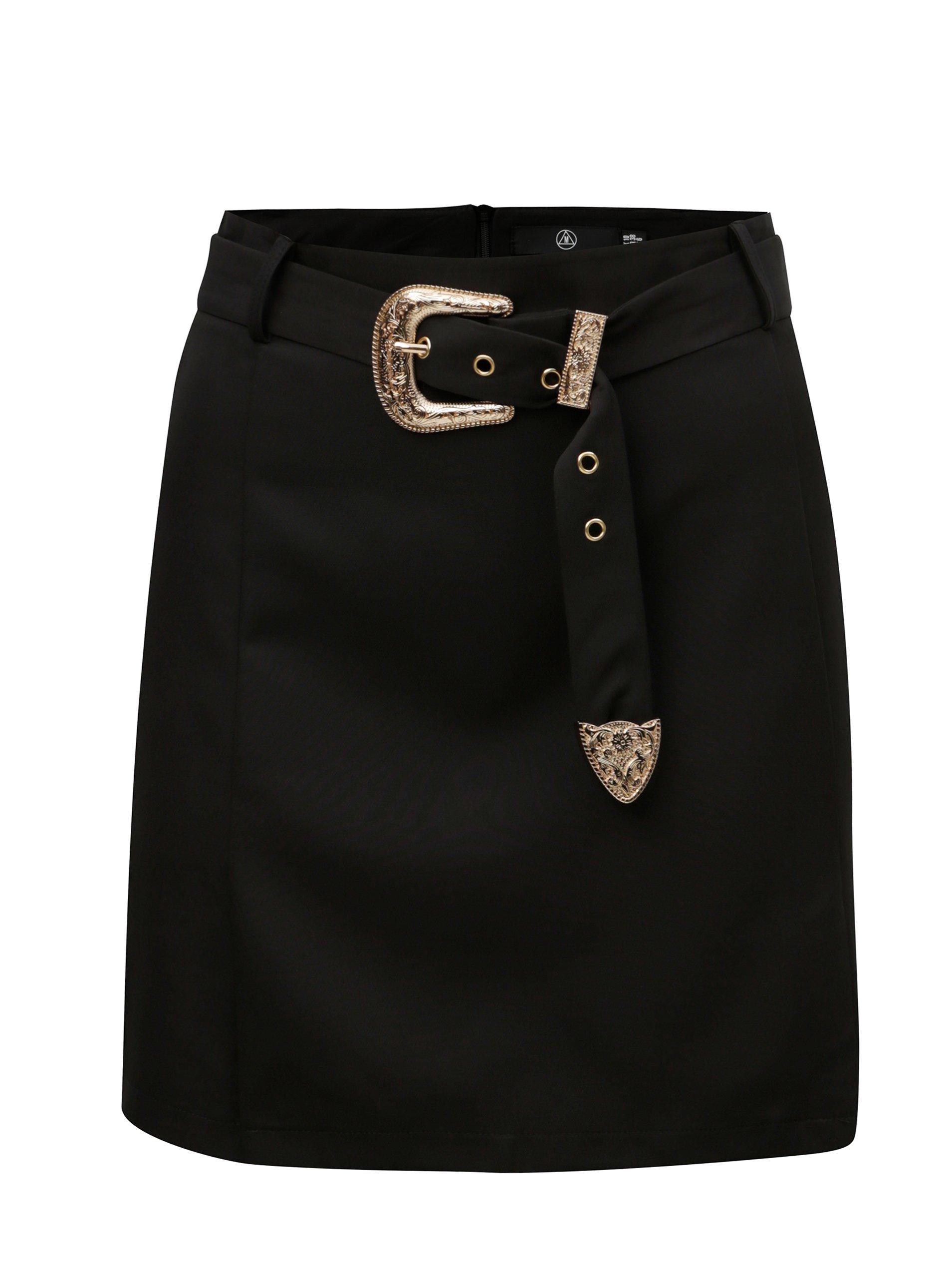 Černá sukně s páskem a detaily ve zlaté barvě MISSGUIDED