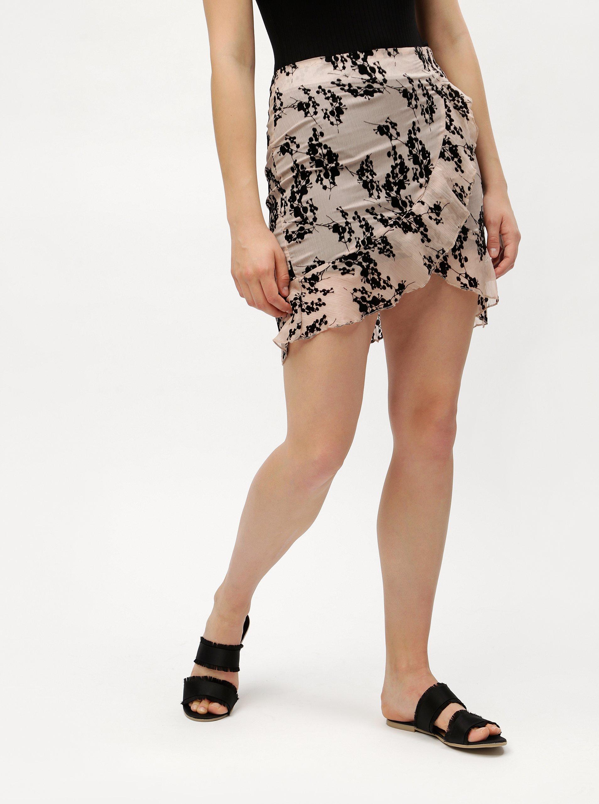 Starorůžová vzorovaná sukně s volánem MISSGUIDED