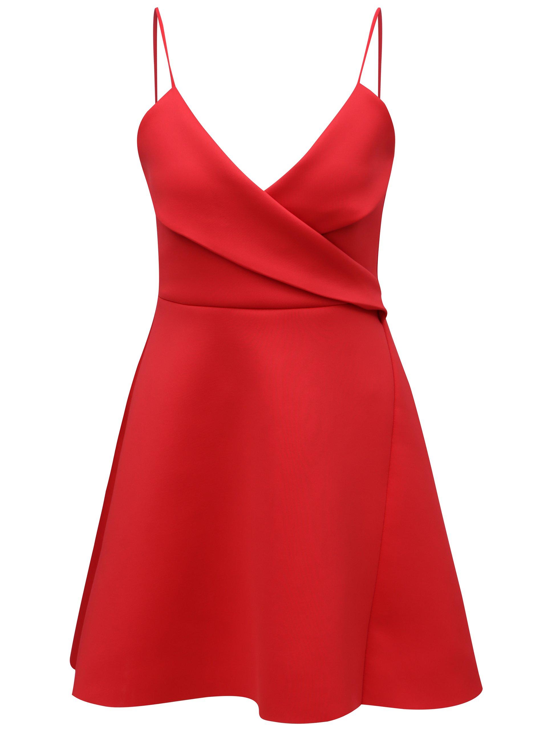 Červené šaty na ramínka MISSGUIDED