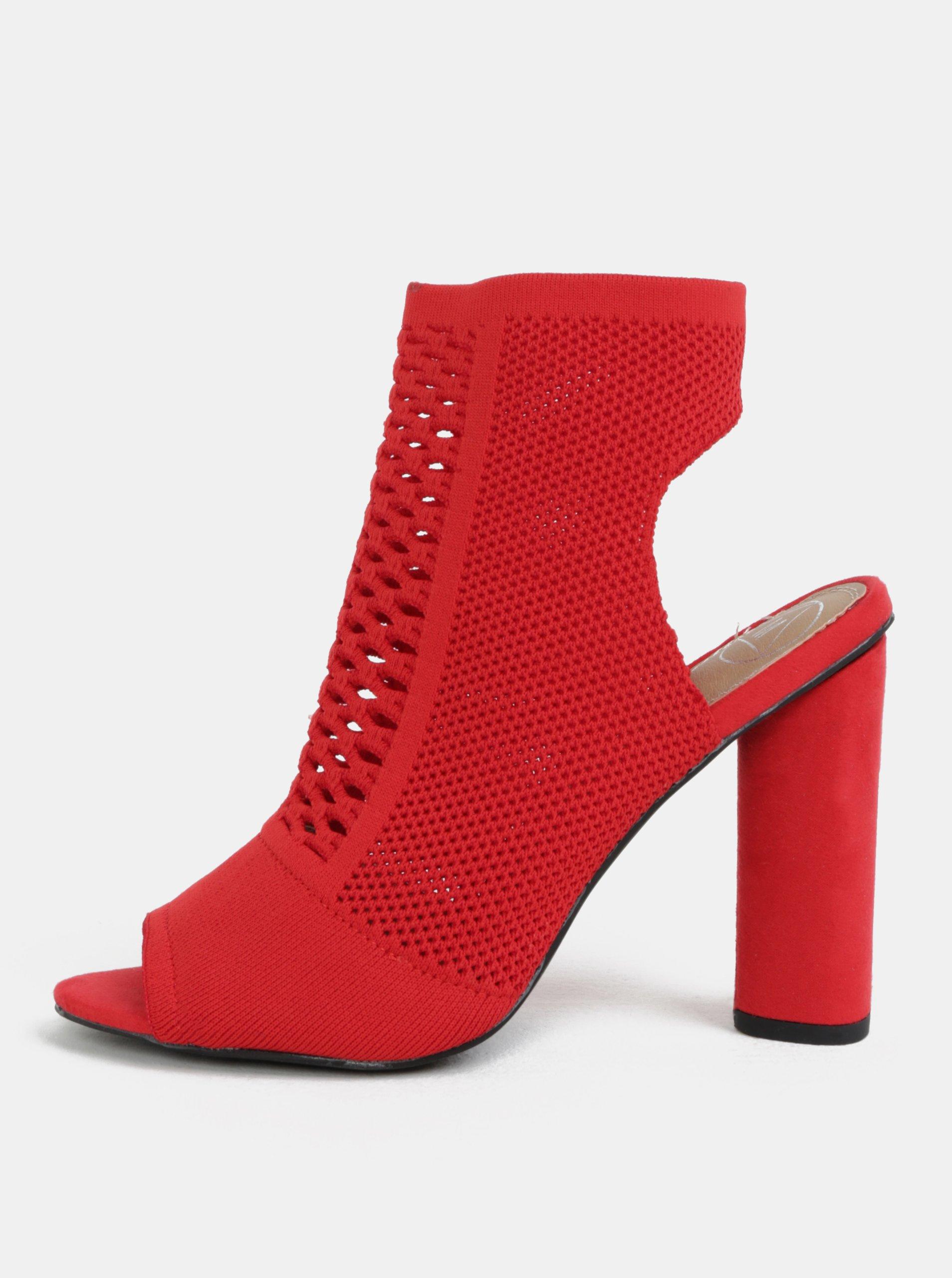 99359437329e Červené sandálky na širokom podpätku MISSGUIDED