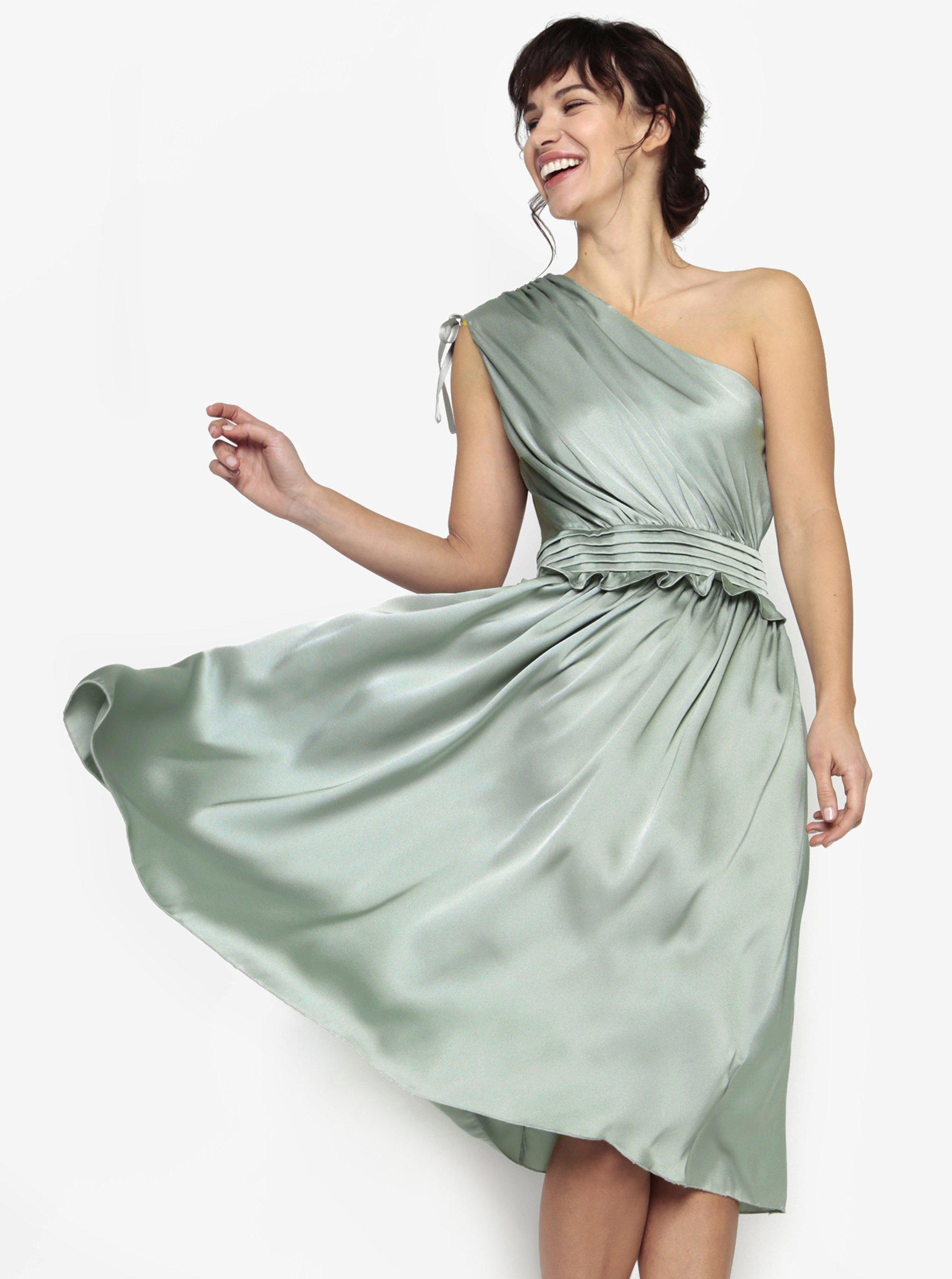a7fd741ad806 Svetlozelené asymetrické šaty s volánom Little Mistress