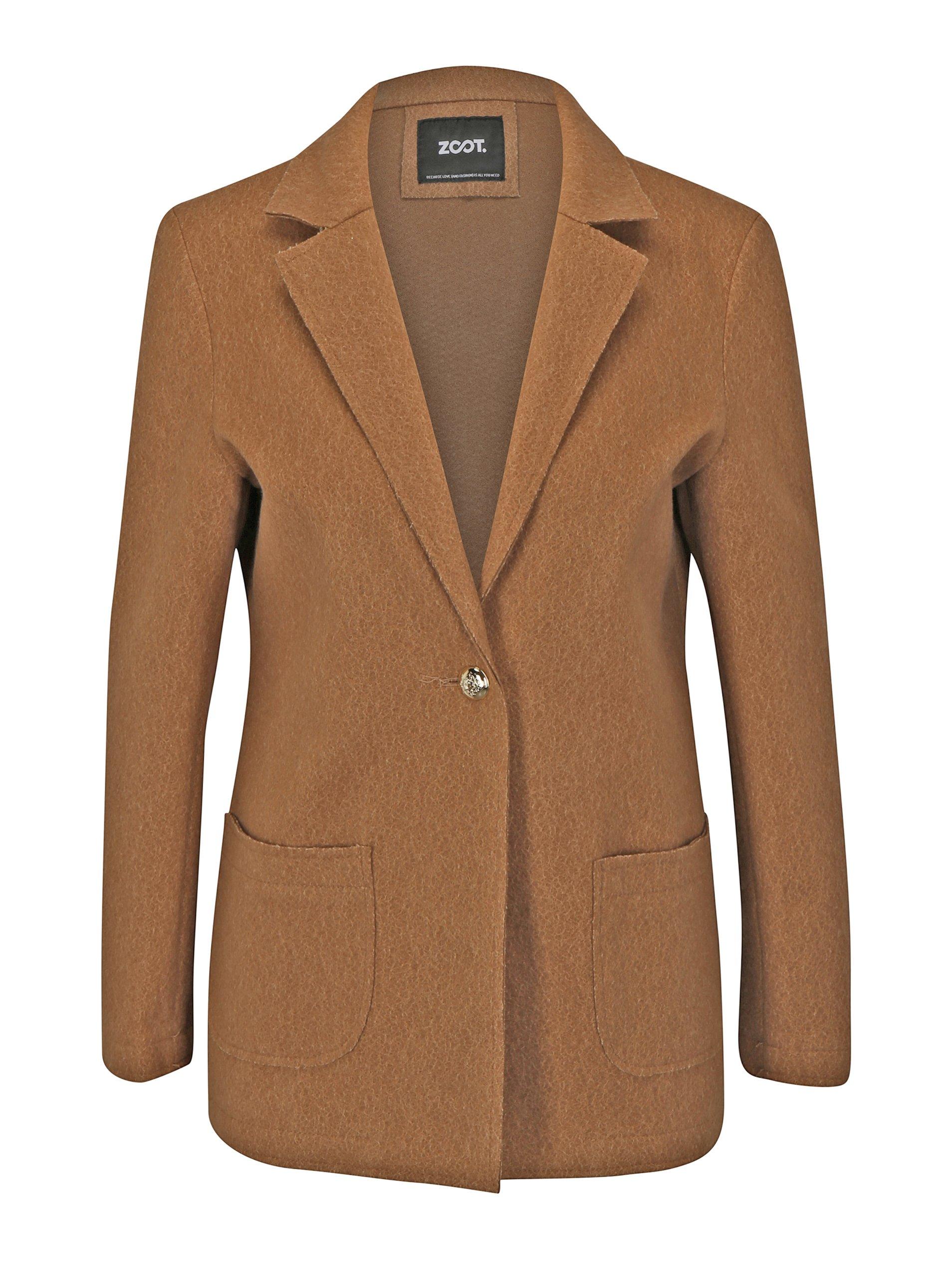 Světle hnědý vzorovaný krátký kabát ZOOT
