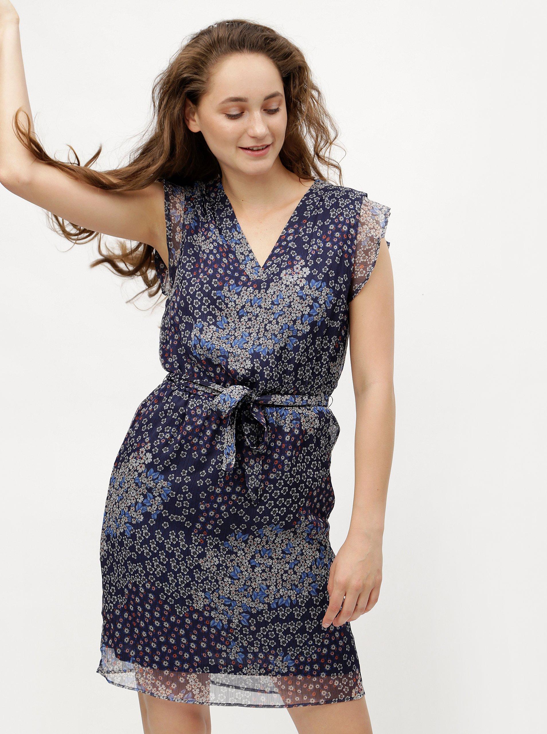 54e491abf096 Tmavě modré květované šaty s.Oliver