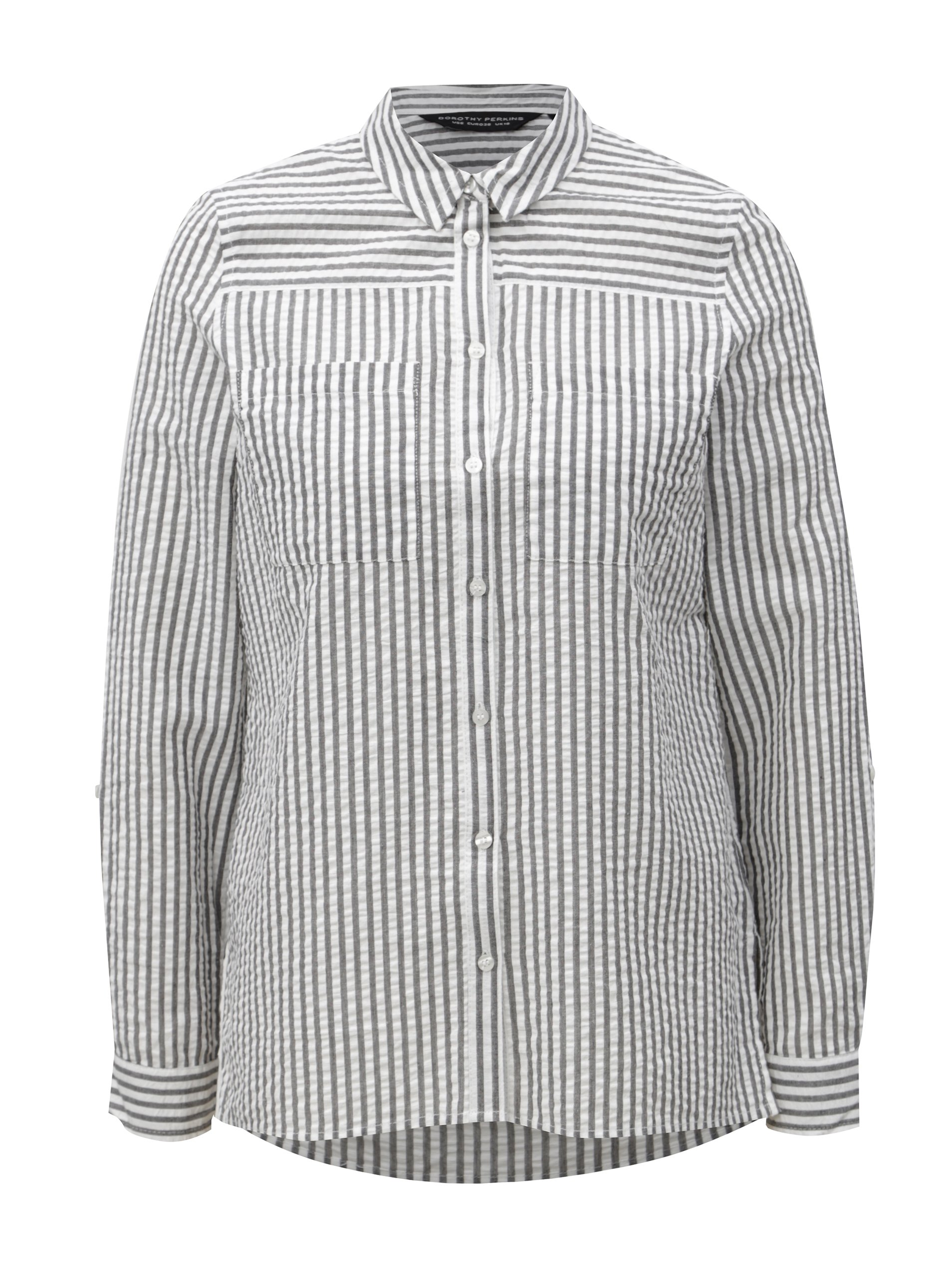 e7cb4bd5bab Bílo-šedá pruhovaná košile Dorothy Perkins