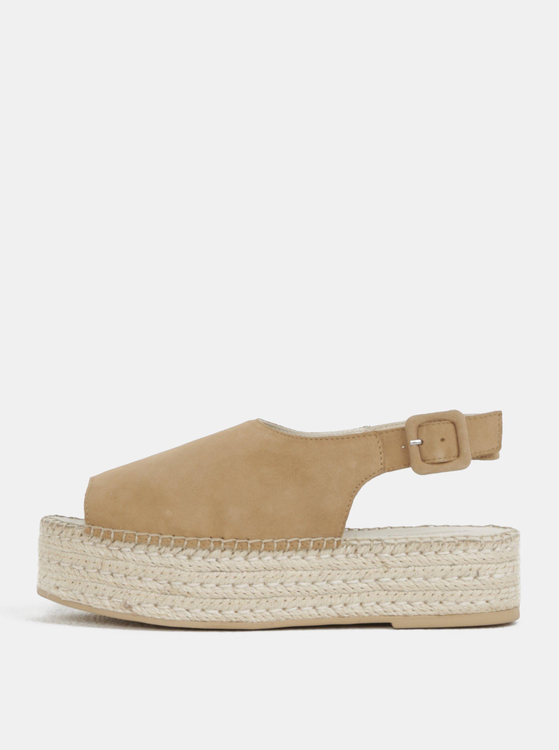 1bc61a77db14 Béžové dámske semišové sandále na platforme Vagabond Celeste