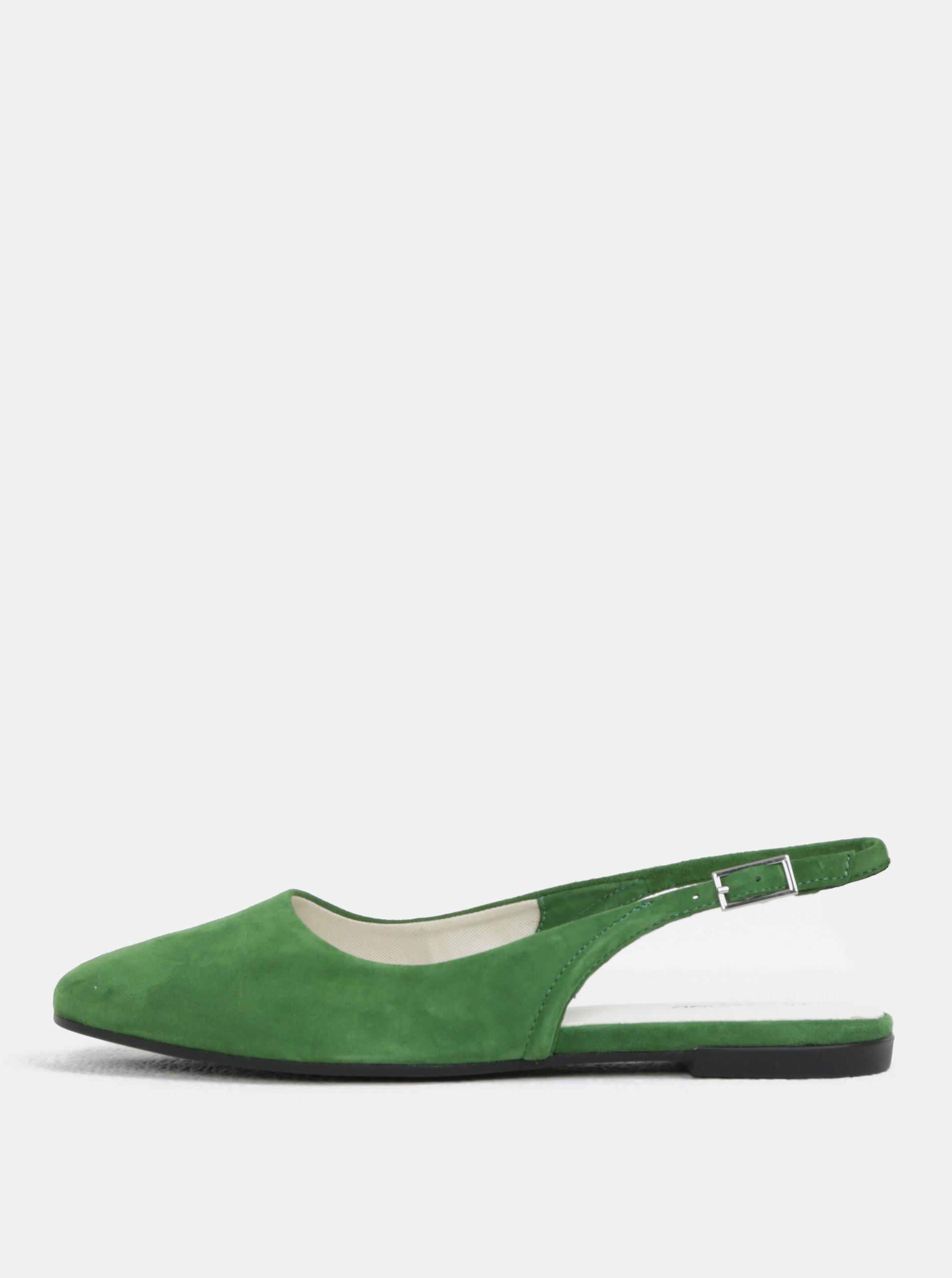 Zelené dámské semišové baleríny s otevřenou patou Vagabond Ayden