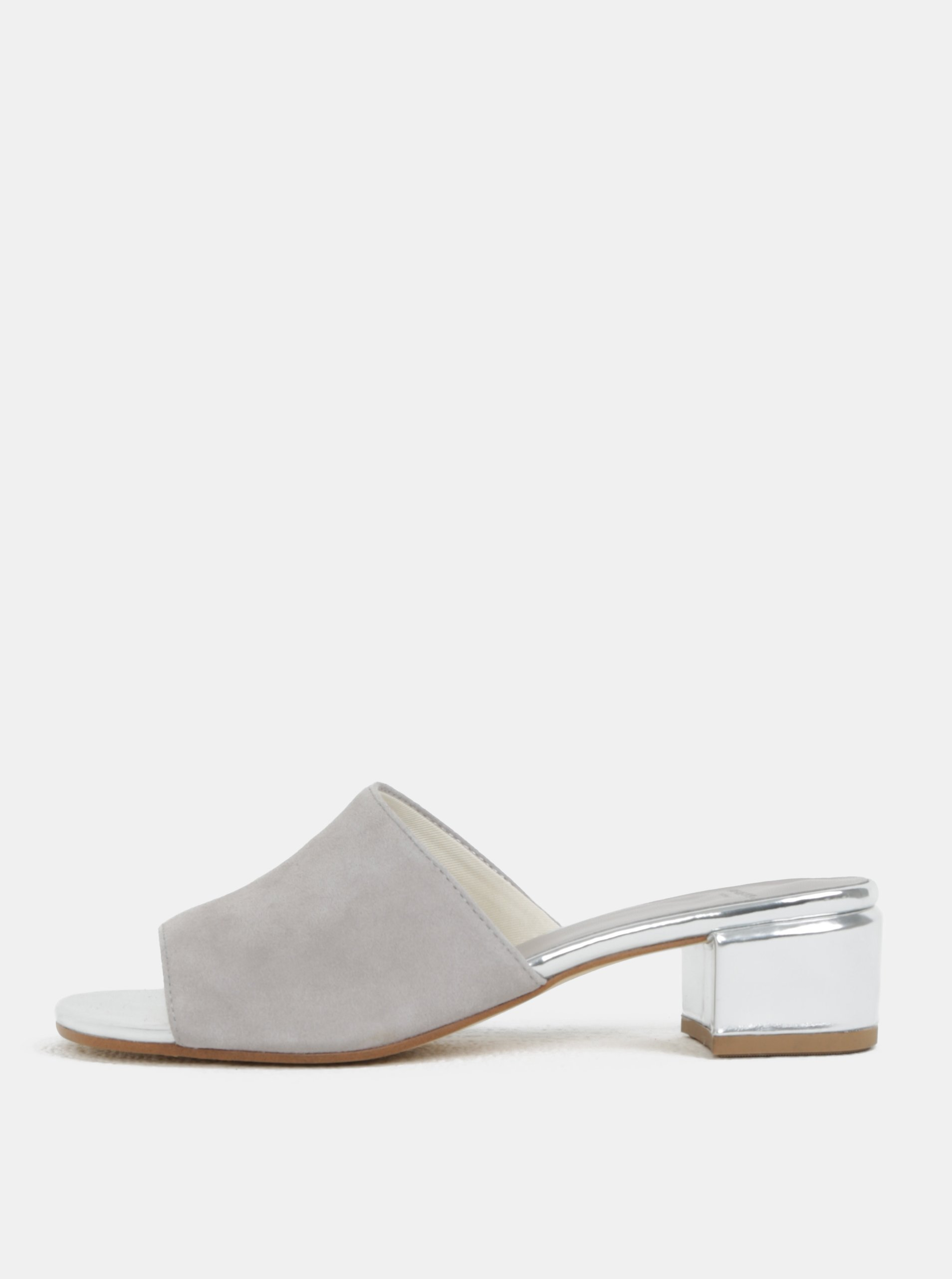 d9ef34b20c1 Šedé dámské semišové pantofle na podpatku Vagabond Aisha
