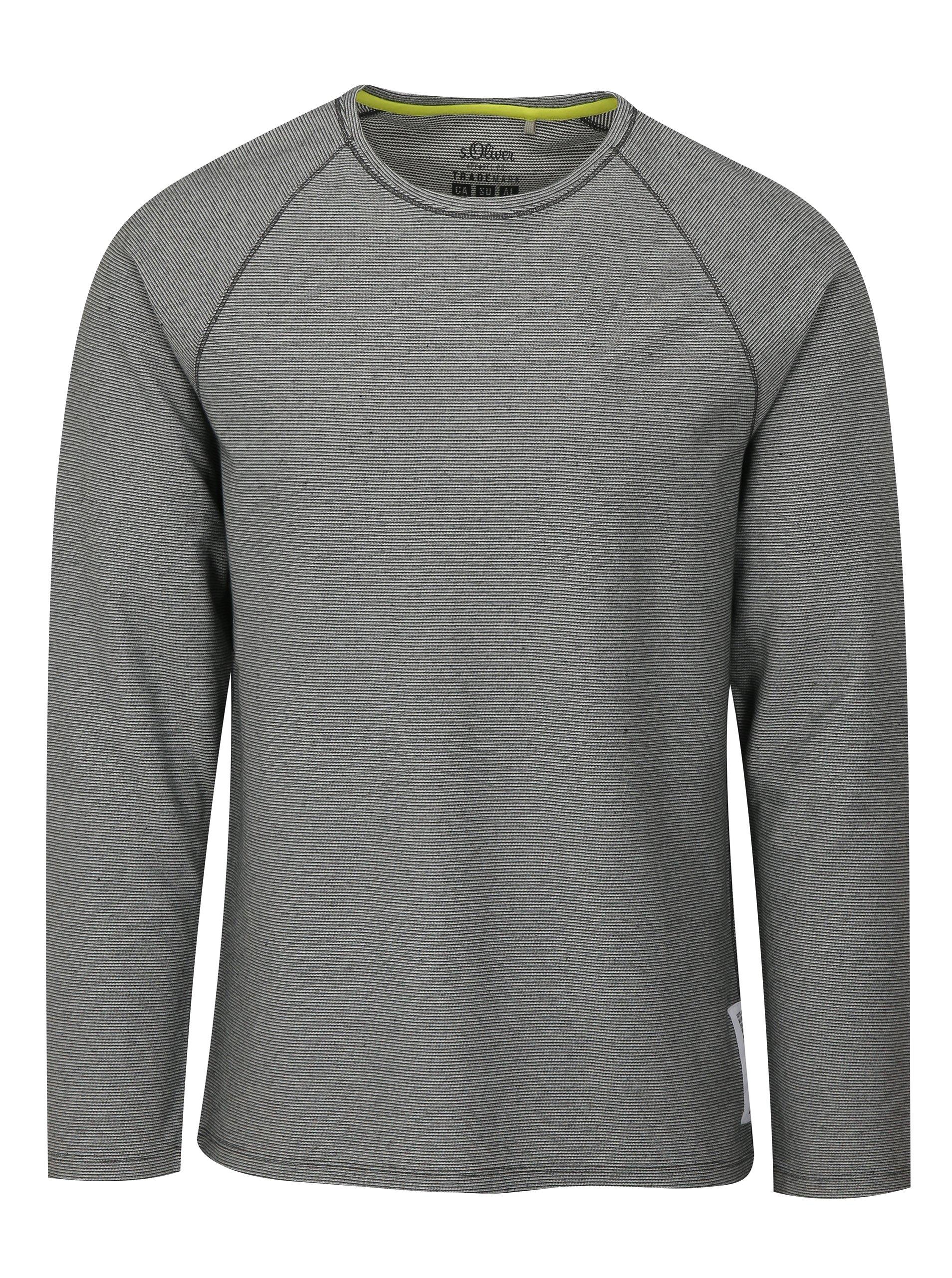 667cea756cea Sivé pánske pruhované tričko s dlhým rukávom s.Oliver