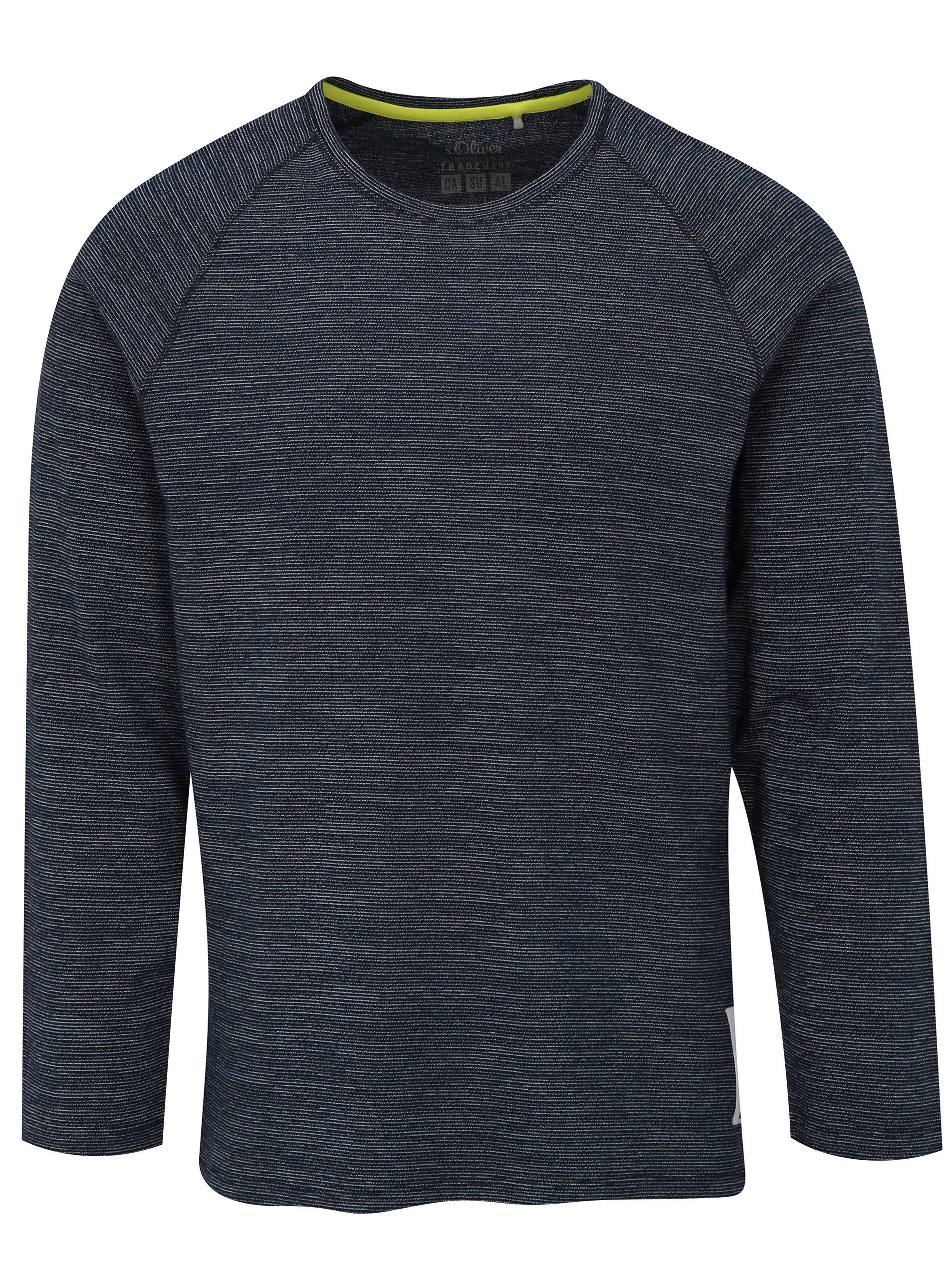 65b5aeddcec4 Tmavomodré pánske pruhované tričko s dlhým rukávom s.Oliver