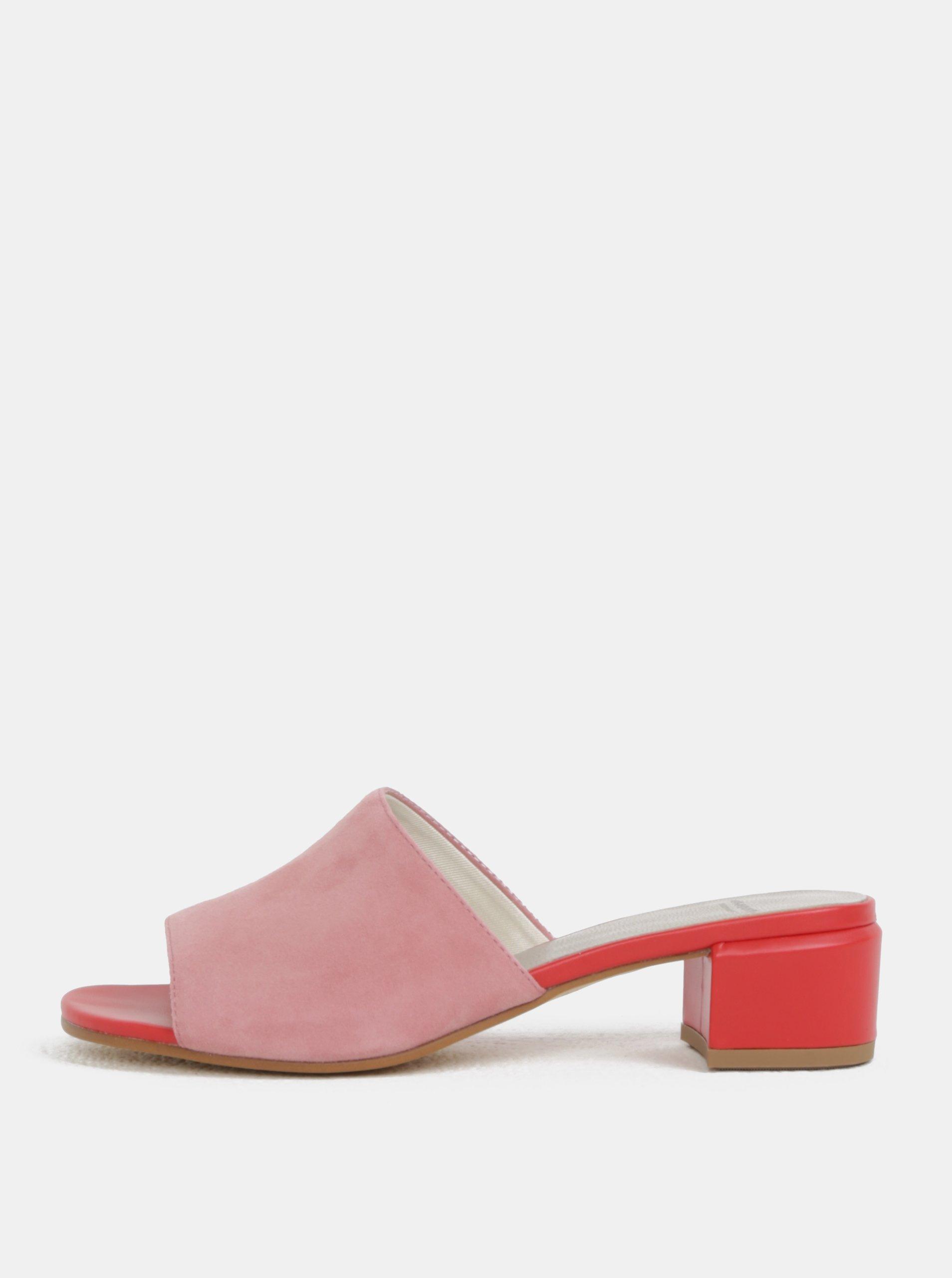 Červeno-růžové dámské semišové pantofle na podpatku Vagabond Aisha 146d2ec96f