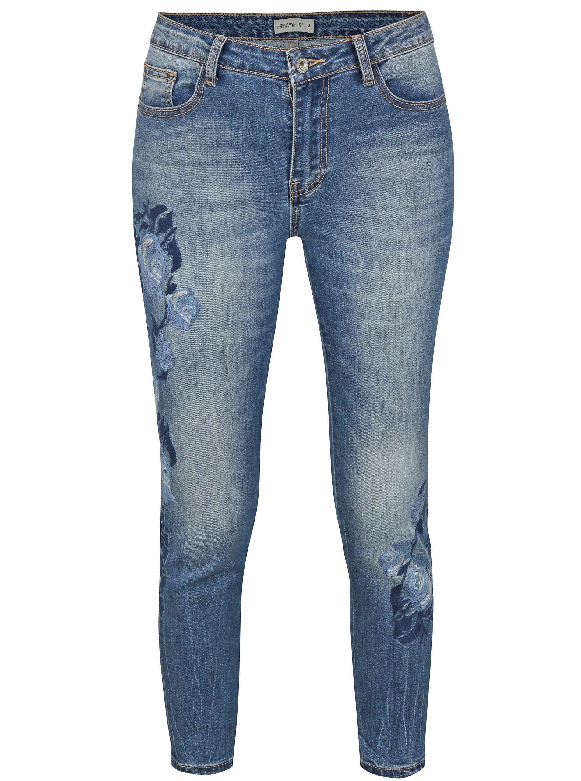 Modré zkrácené slim džíny s výšivkou Haily´s Belinda