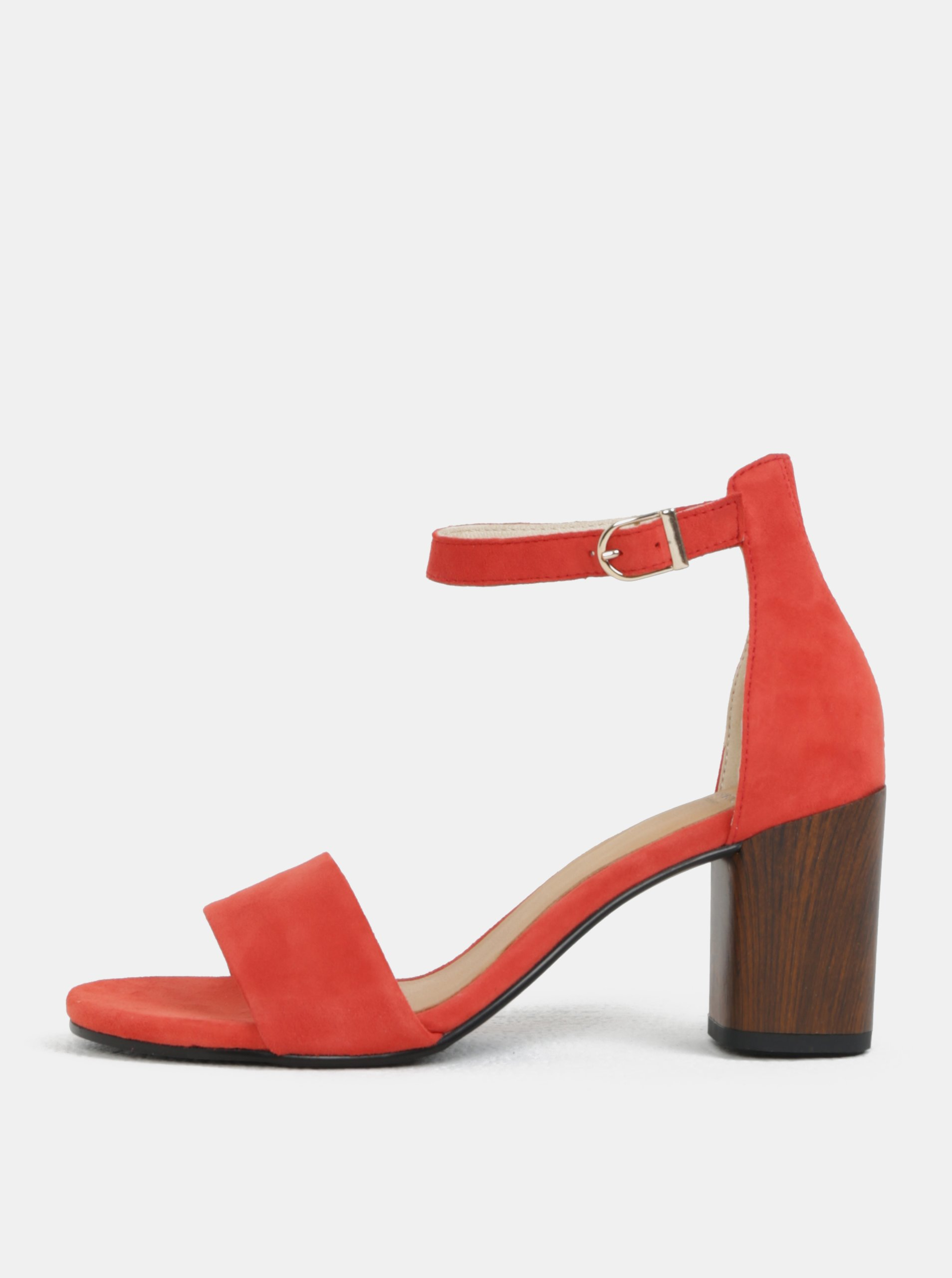 81bbed44db4f Červené dámske semišové sandálky na podpätku Vagabond Carol
