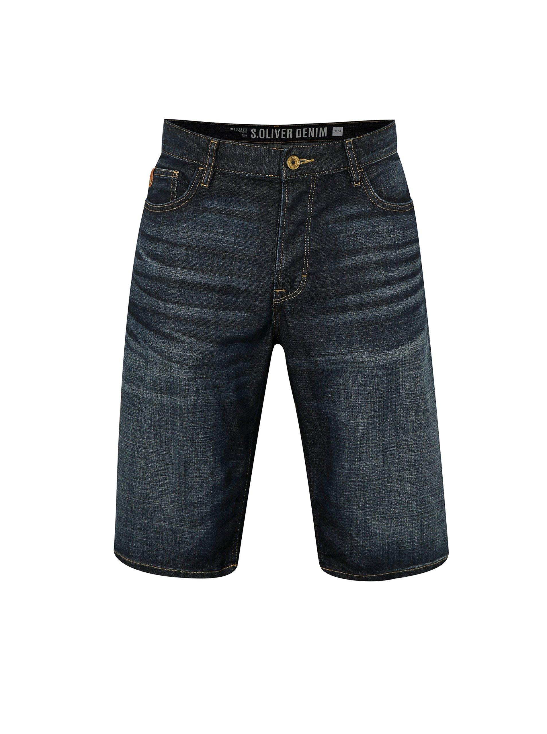 Tmavě modré pánské džínové regular fit kraťasy vyšisovaným efektem s.Oliver e0b54d357b