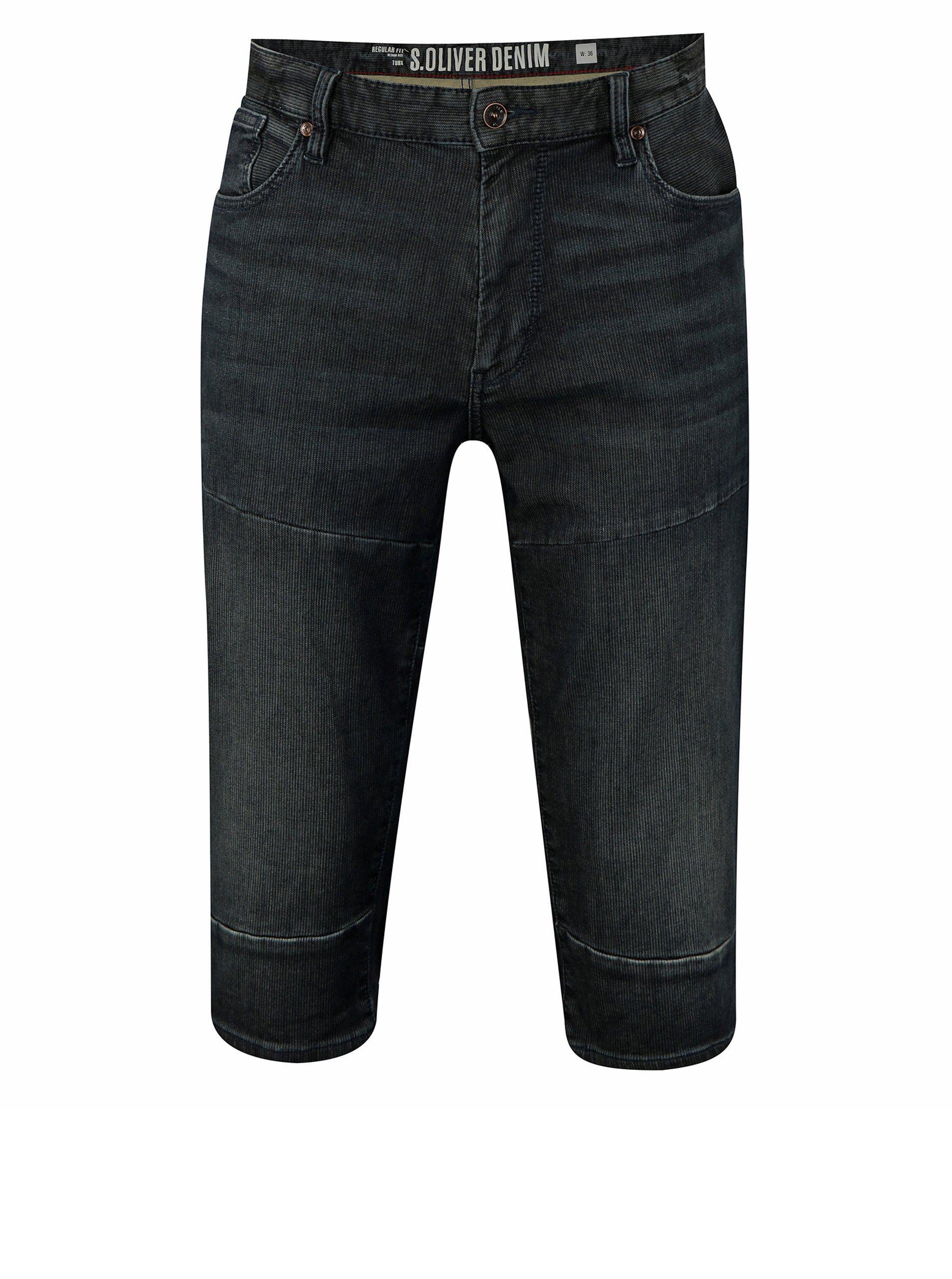 Tmavě modré pánské džínové regular fit kraťasy s.Oliver 380a5c6582