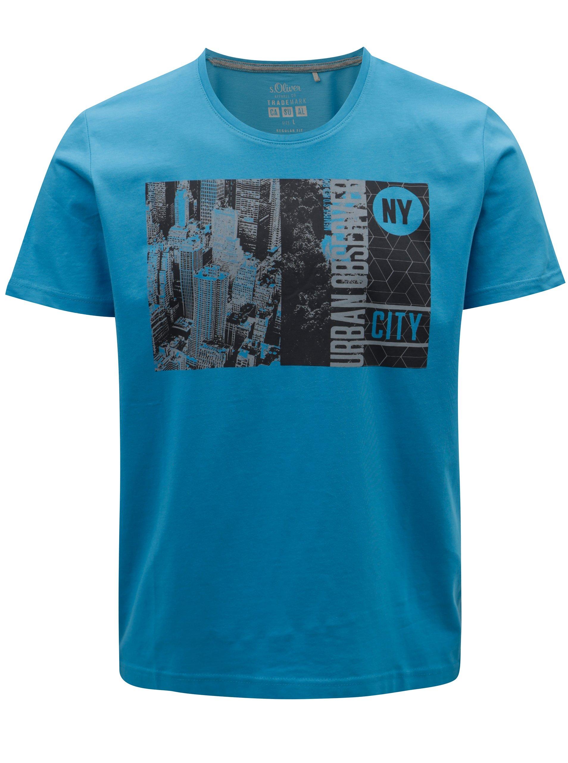 7fc44fad021e Modré pánske tričko s potlačou s.Oliver