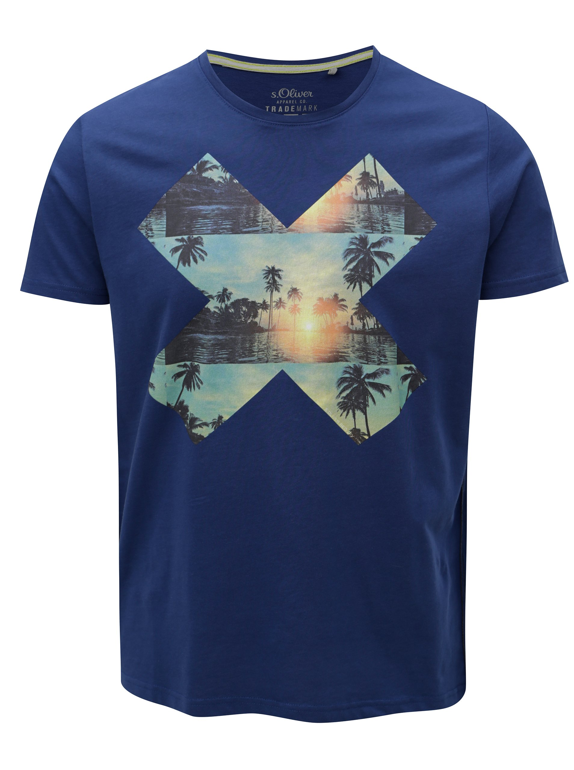 05b3f5411513 Modré pánske tričko s potlačou s.Oliver
