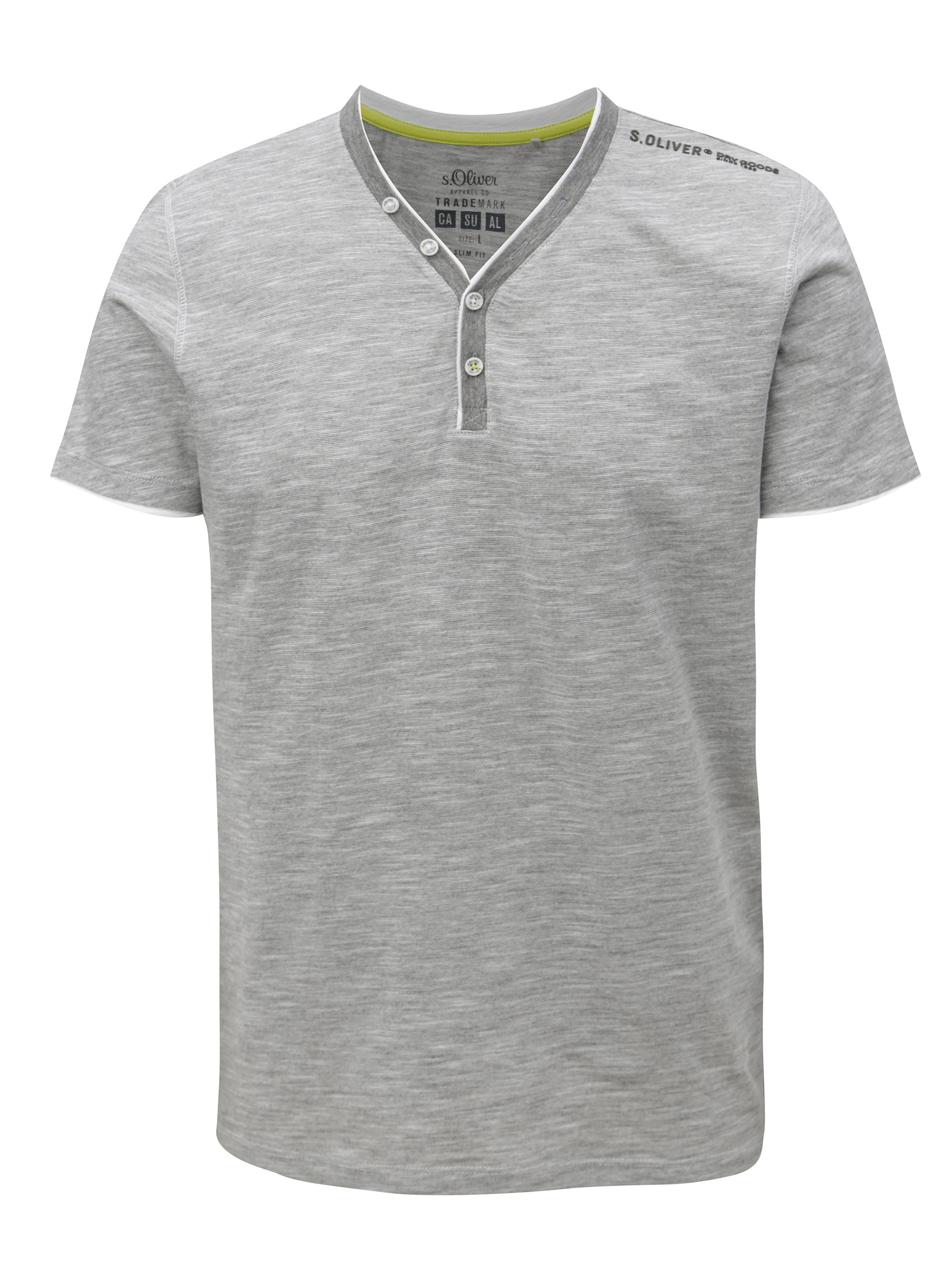 Sivé pruhované pánske slim fit tričko s.Oliver 15978655b61
